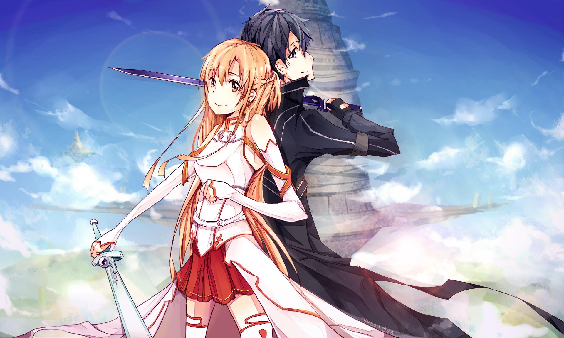 Anime – Sword Art Online Kirito (Sword Art Online) Asuna Yuuki Kazuto  Kirigaya Wallpaper