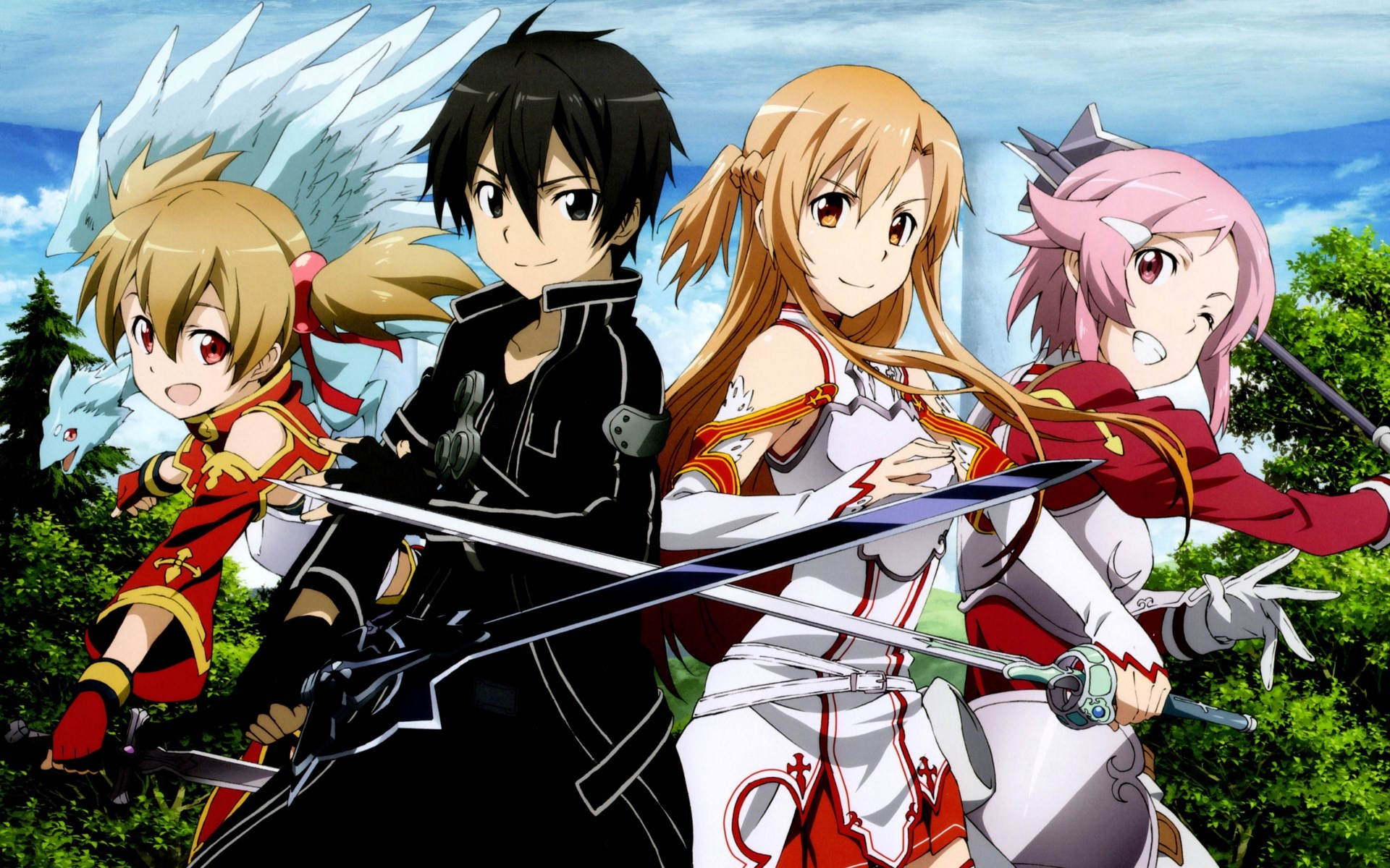 Asuna Yuuki, Silica and Lisbet from the anime series Sword Art Online