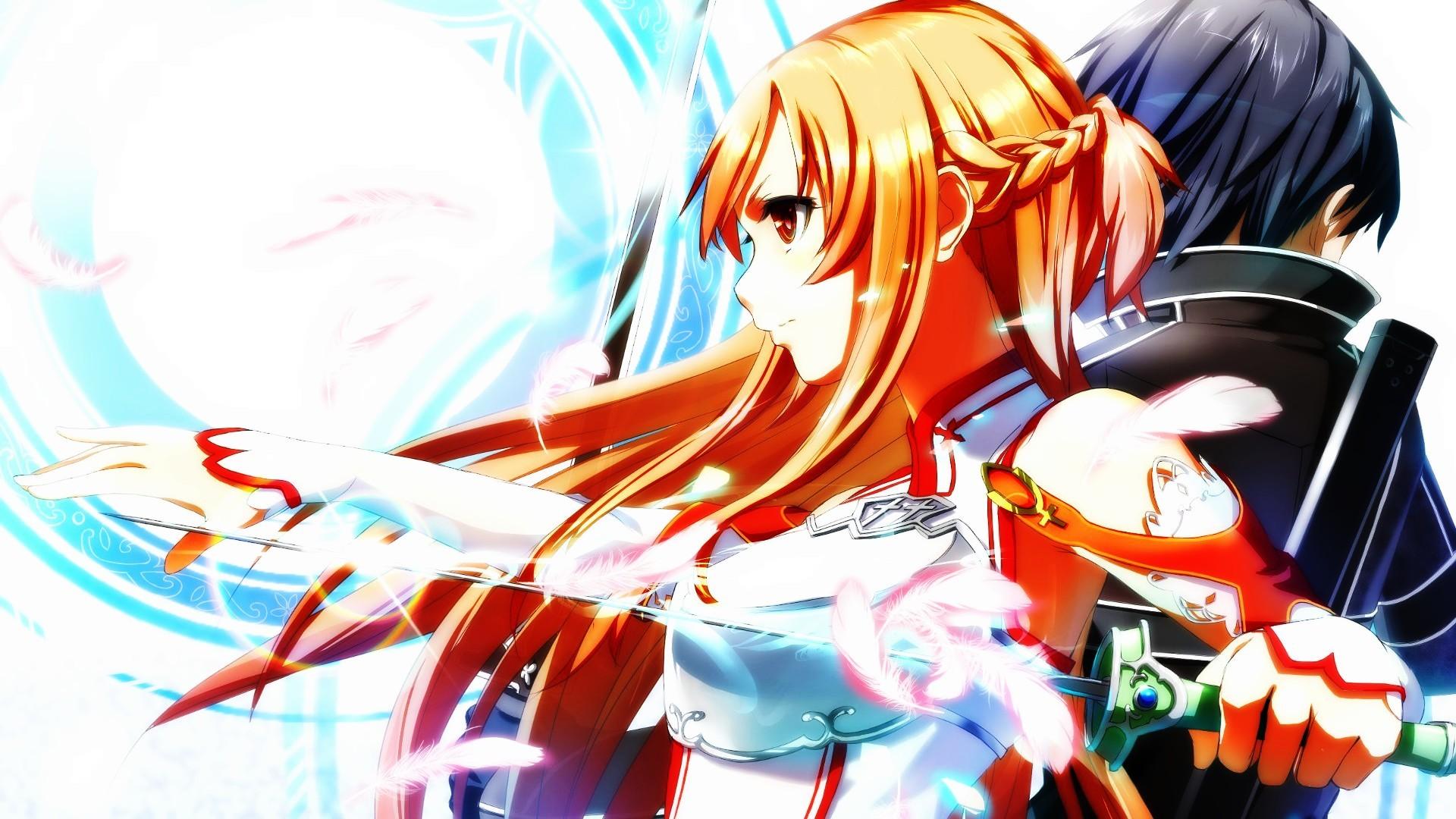 Sword Art Online Kirigaya Kazuto Yuuki Asuna Orange Hair Anime Girls Swords  Artwork Orton Effect …