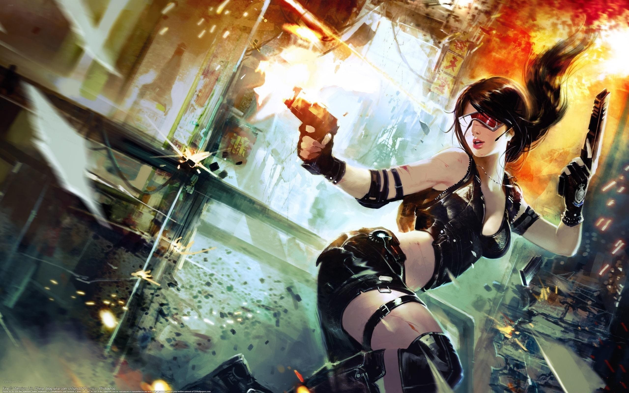 Artwork Cyberpunk Girls With Glasses Guns Weapons Women …