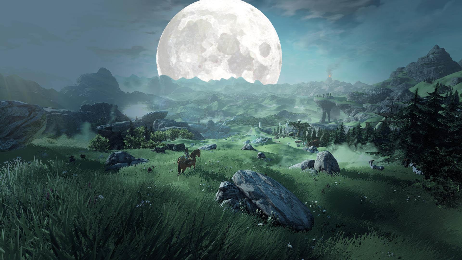 The Legend of Zelda Wii U Landscape at Night wallpaper