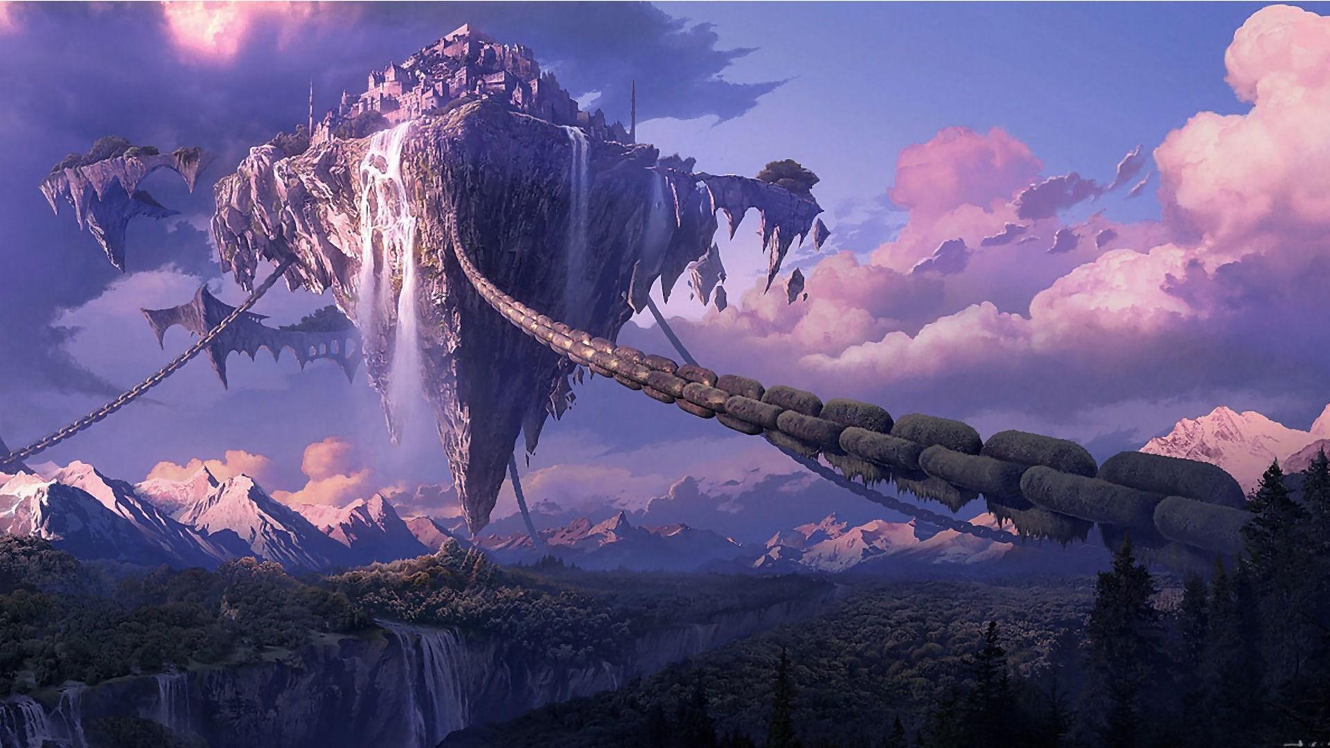 chains Landscape Tera Online Digital Art Anime Waterfall