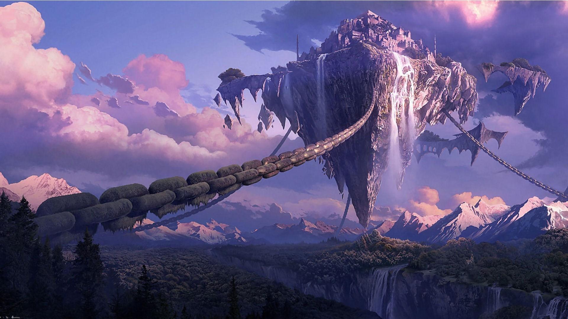 General chains landscape Tera online digital art anime waterfall  fantasy art forest mountain floating island