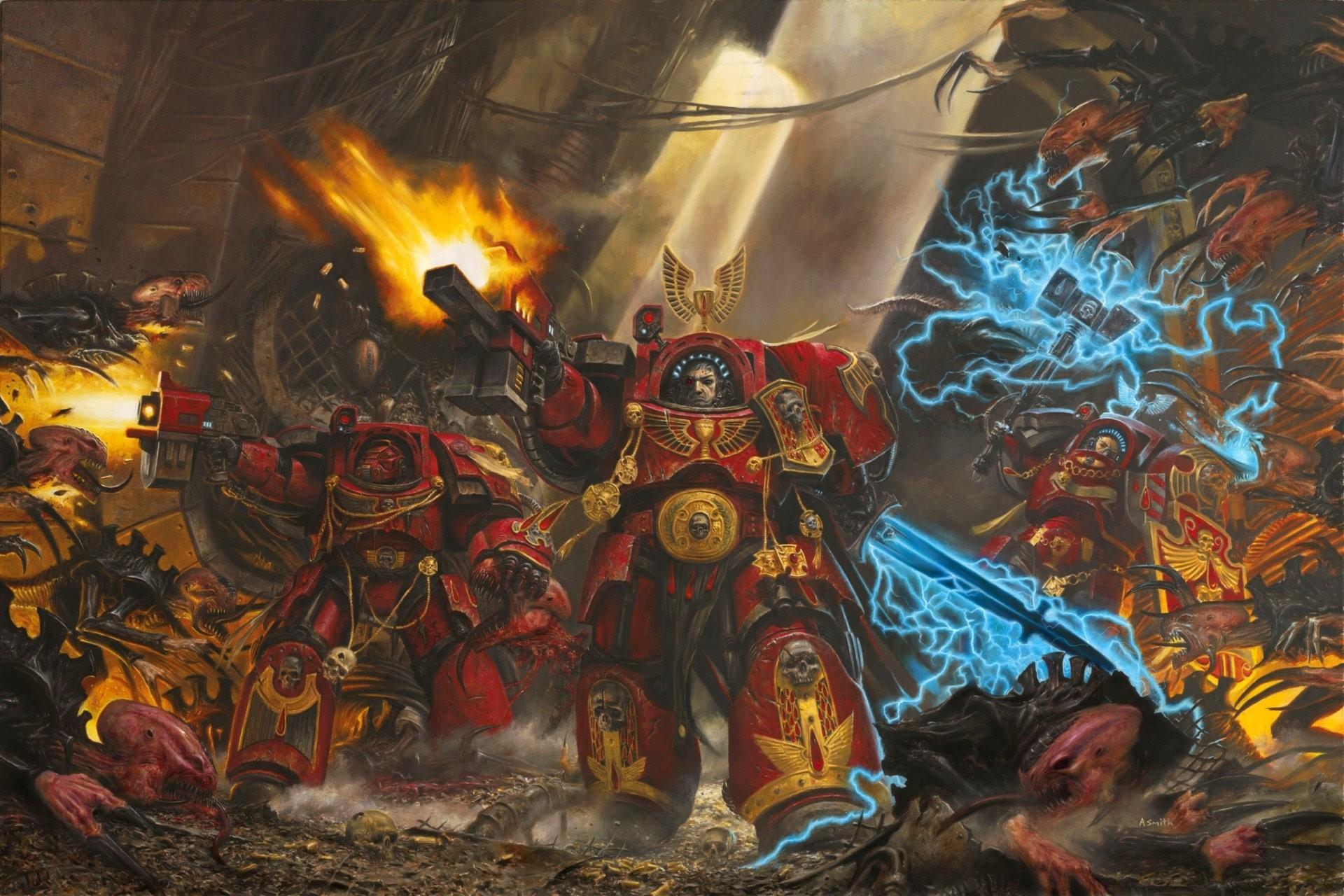 adrian smith spacehulk warhammer 40k space marines bloody angels blood  angels armour terminators tyranids genestealers bolter