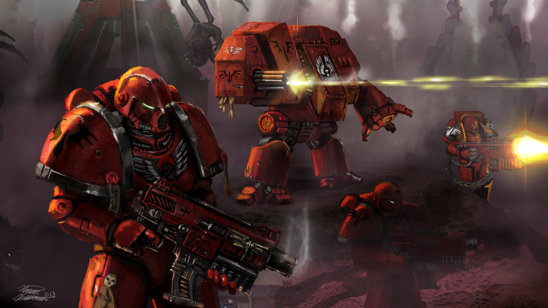 My finest, the Blood Angels. Sadly, there's more of 'em but I can't find  them on the Imperial Galacticweb. They're on my PC though.