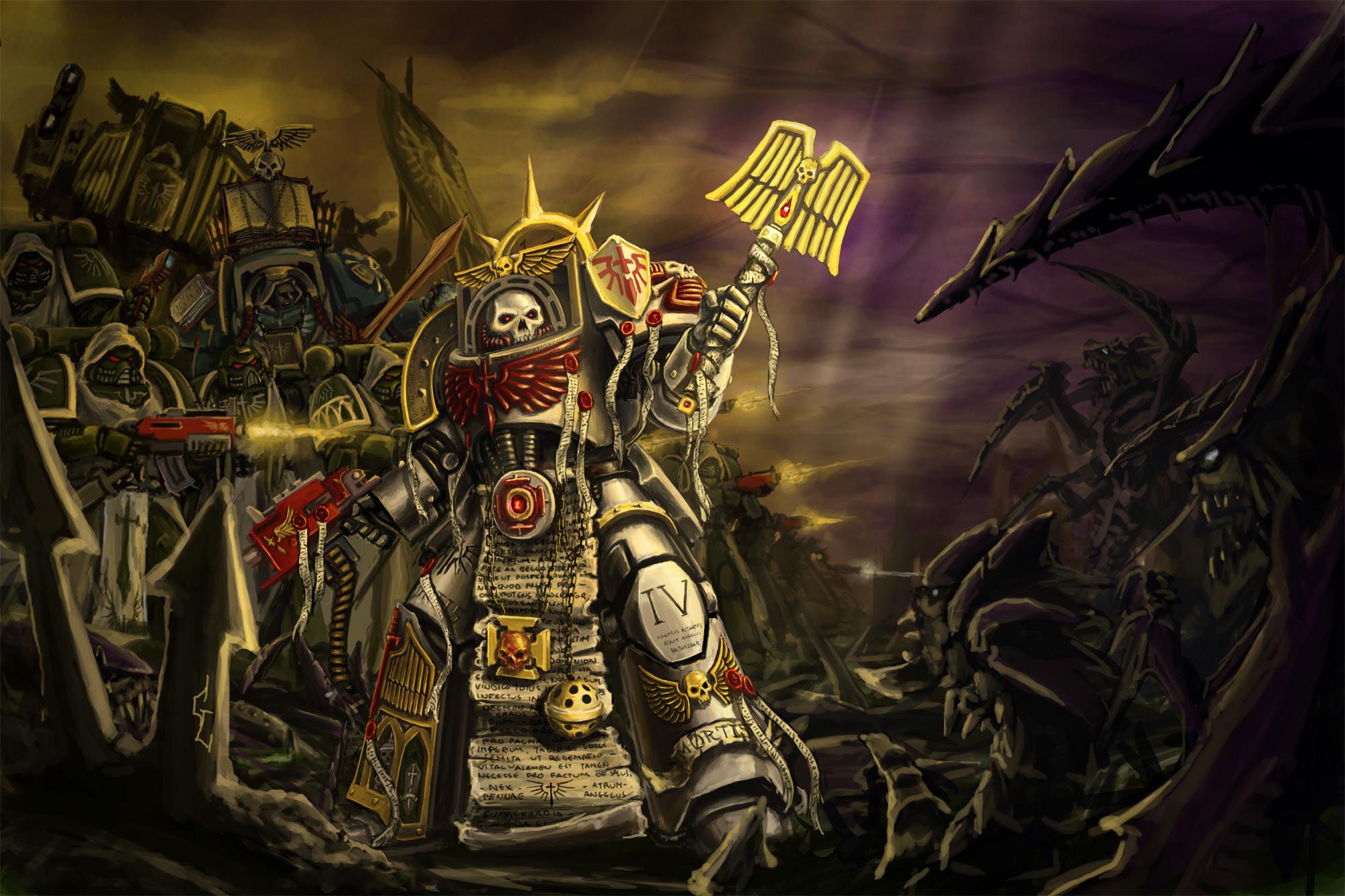Warhammer dark angels, the chaplain, the soldiers, space marine, tyranids  wallpaper