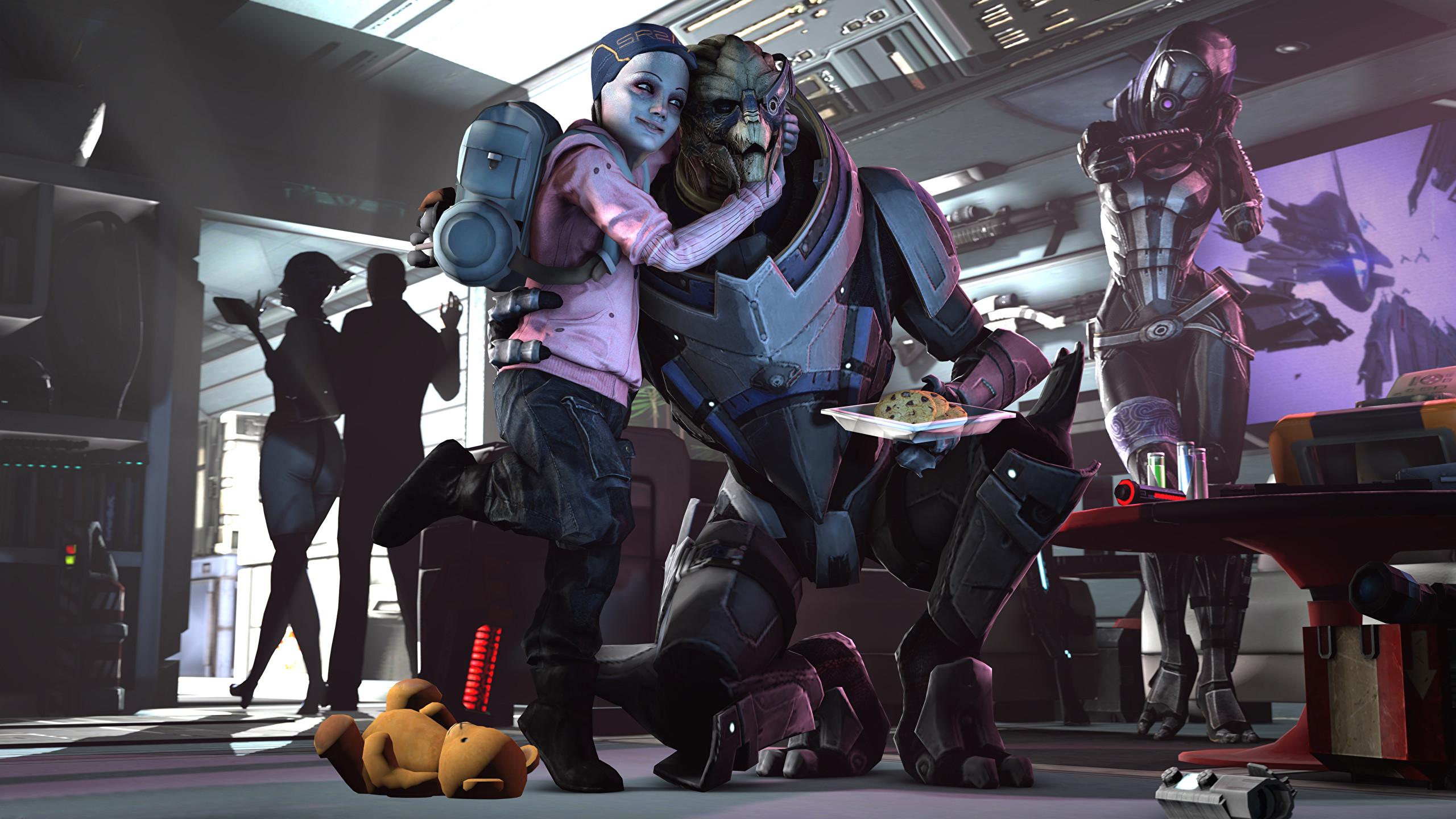 Wallpaper Tali Zorah Mass Effect Aliens Garrus Vakarian Children Fantasy 3D  Graphics Games 2560×1440