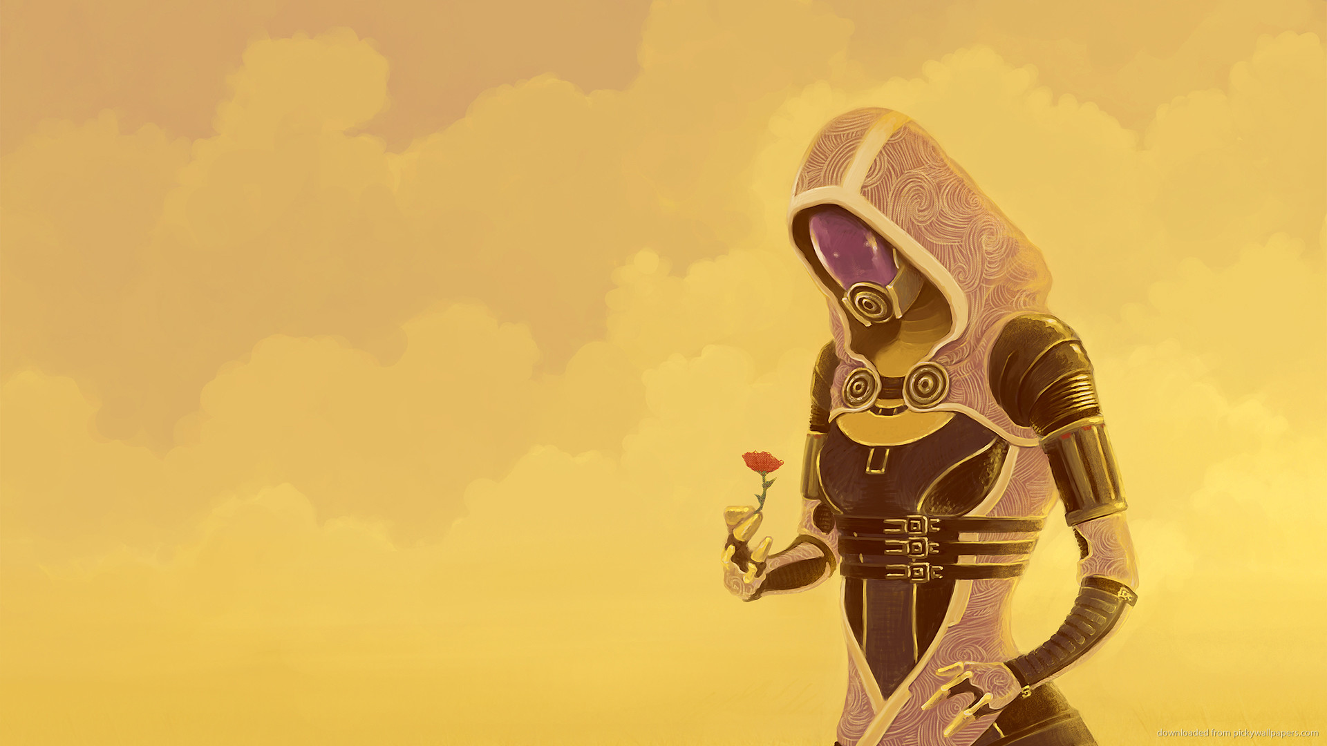 Mass Effect Tali with flower for 1920×1080