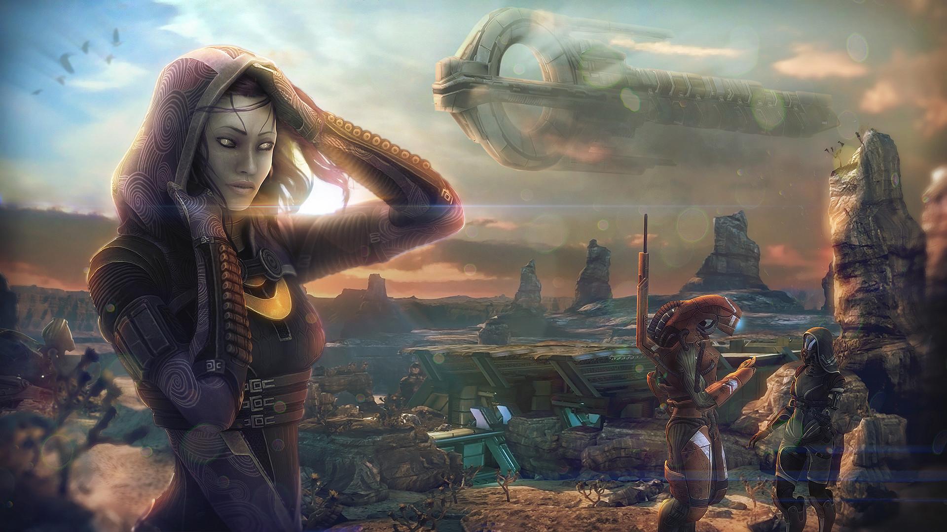 Wallpaper Tali Zorah Mass Effect Aliens vas Normandy Space Girls Games  Ships Hood headgear 1920×1080
