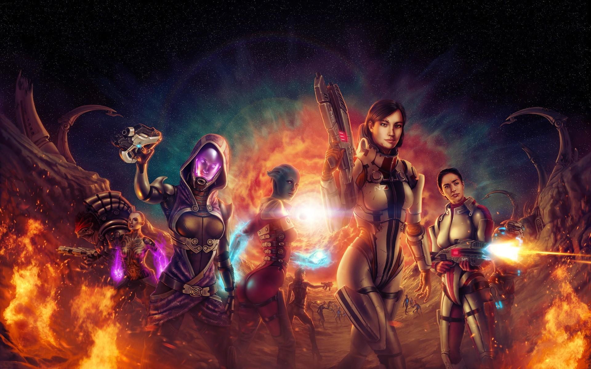 Ashley Williams Commander Shepard FemShep Garrus Vakarian Liara TSoni Mass  Effect Tali Zorah Nar Rayya Wrex