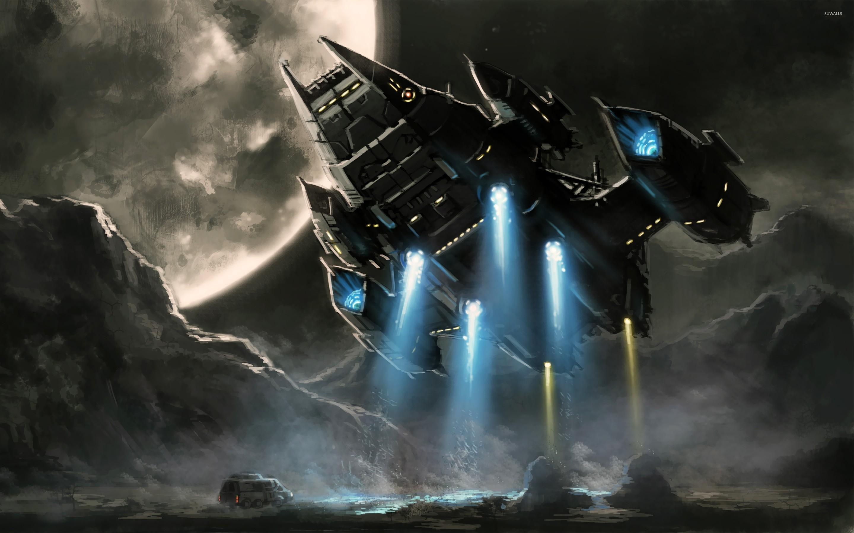 Spaceship in the moonlight wallpaper jpg