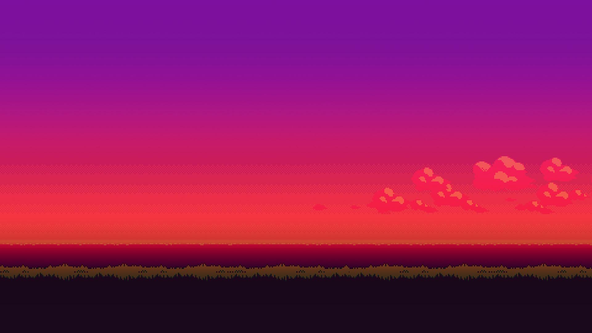 General sunset 16-bit pixel art landscape