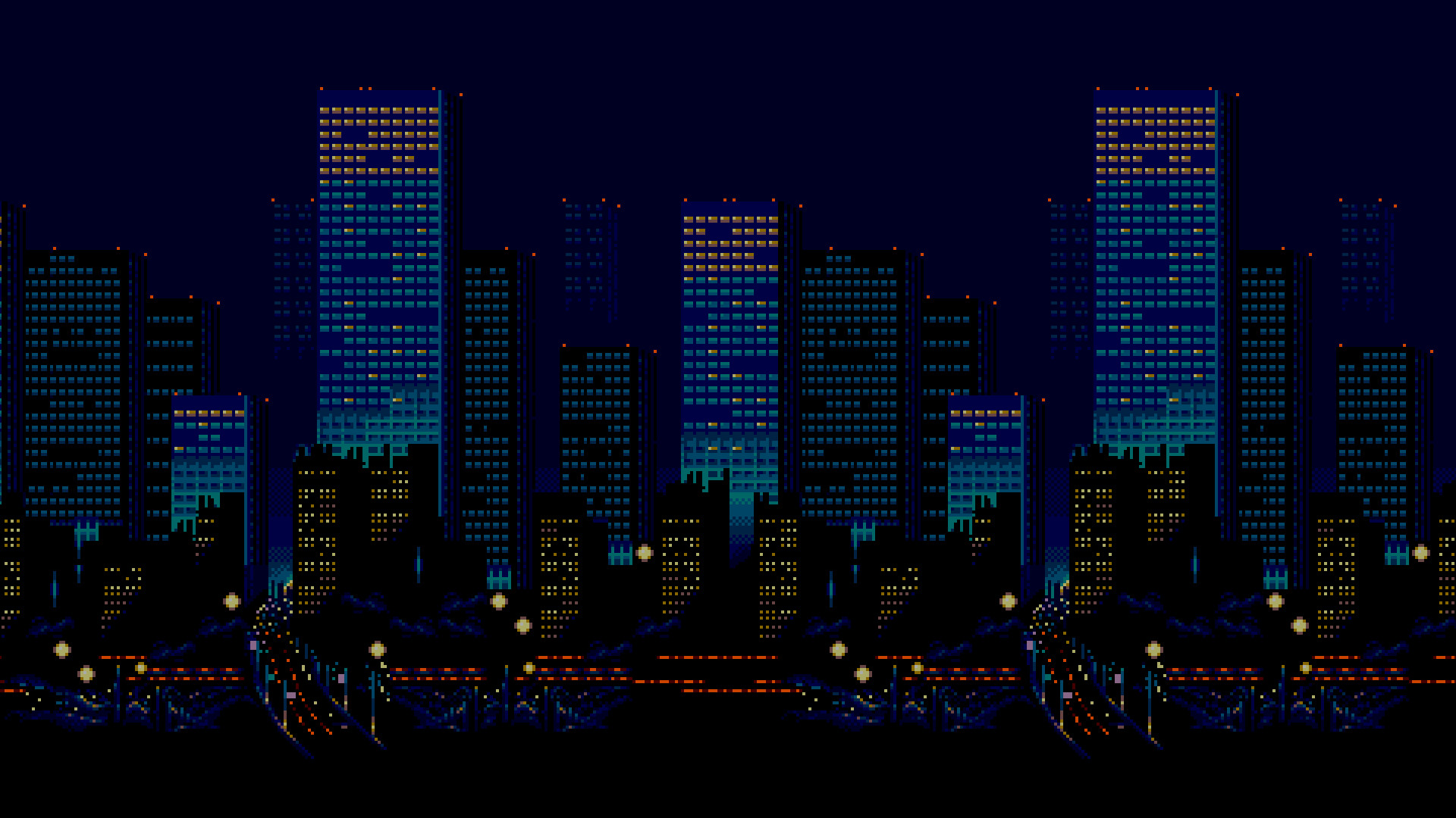 General pixel art 16-bit Sega Streets of Rage city skyline night  urban