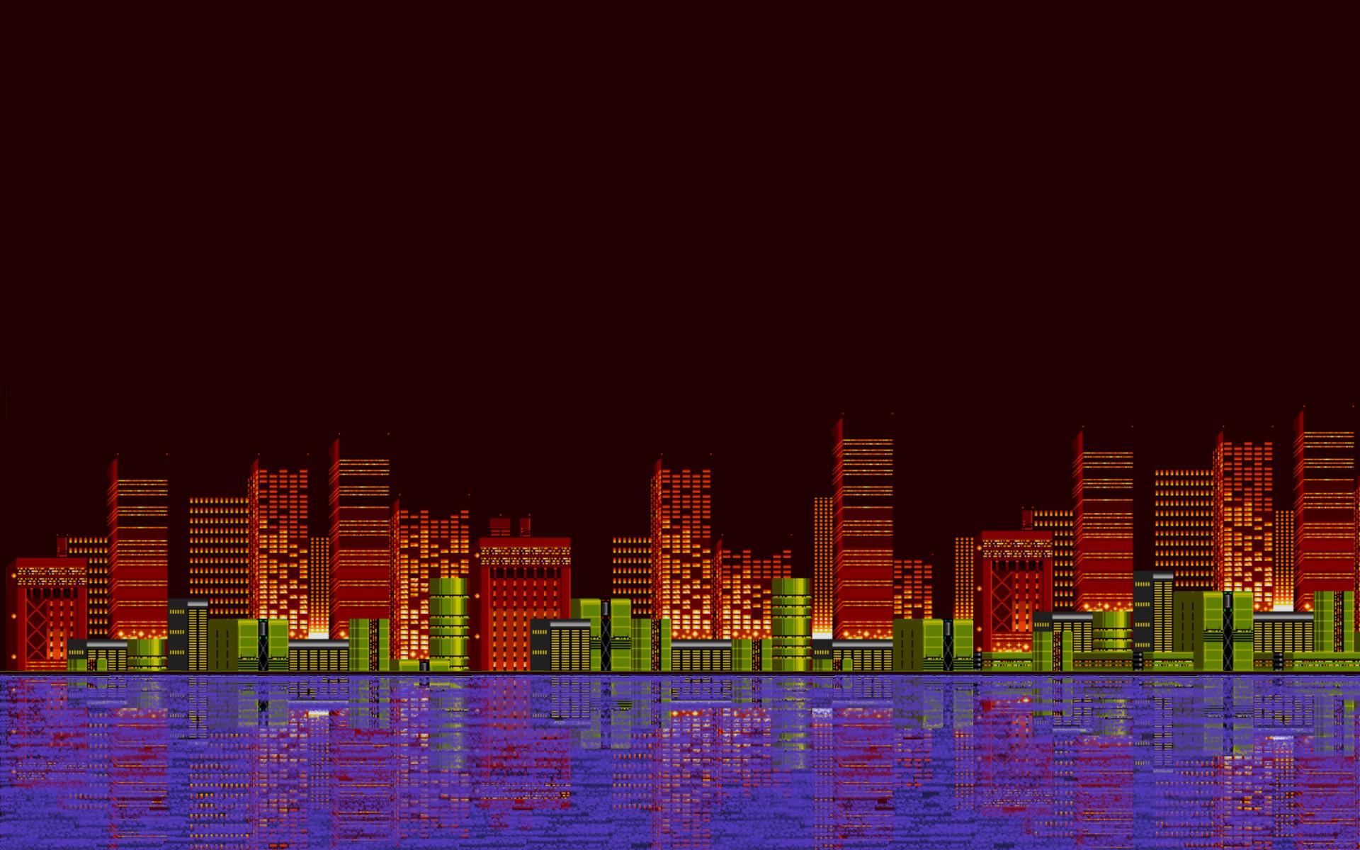 General pixel art 16-bit Sega Sonic the Hedgehog city reflection