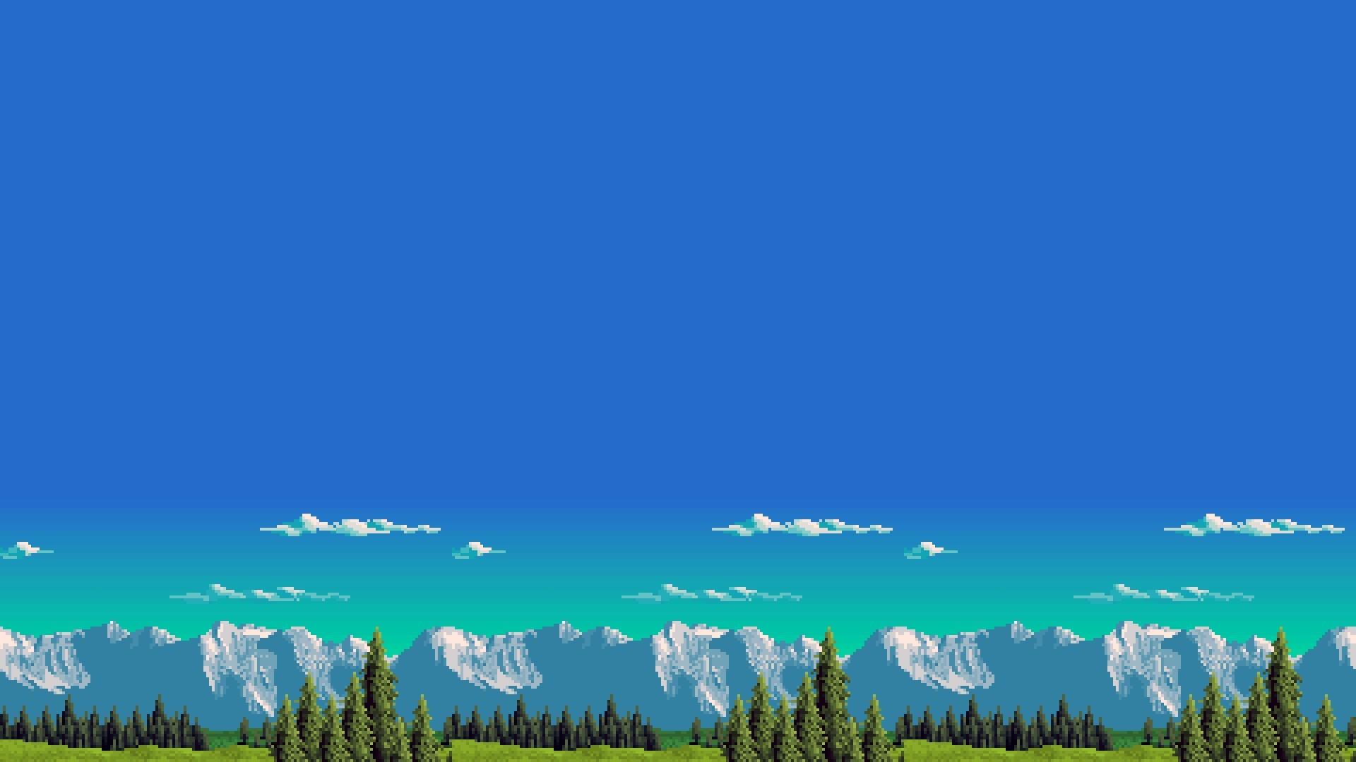 General retro games mountains 8-bit