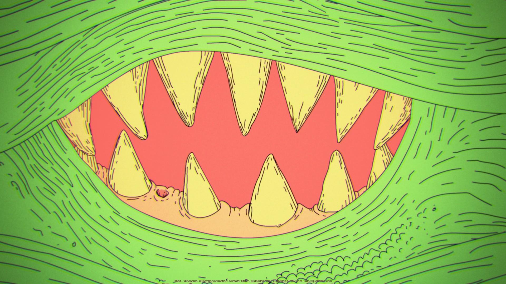 Abstract dinosaurs 16bit wallpaper