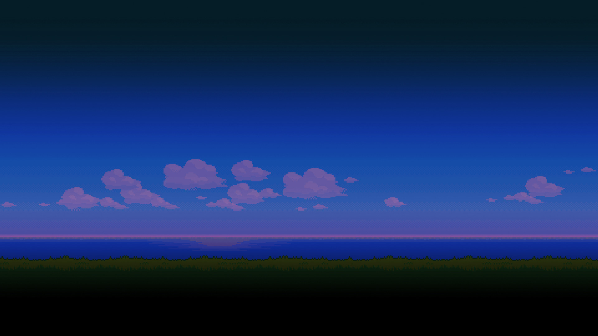 I split the original '8-bit Landscape' into 9 images for every time of the  day. (Download in comments) : wallpapers