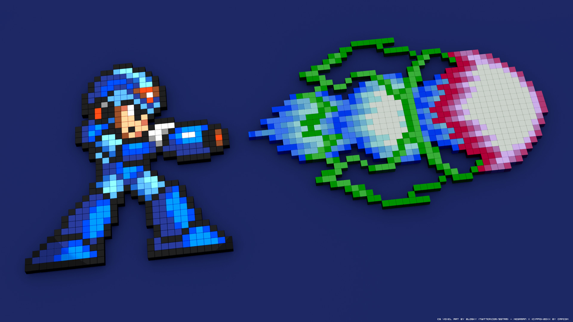 General Megaman X 16-bit 8-bit pixelated pixel art 3D Blocks 3D