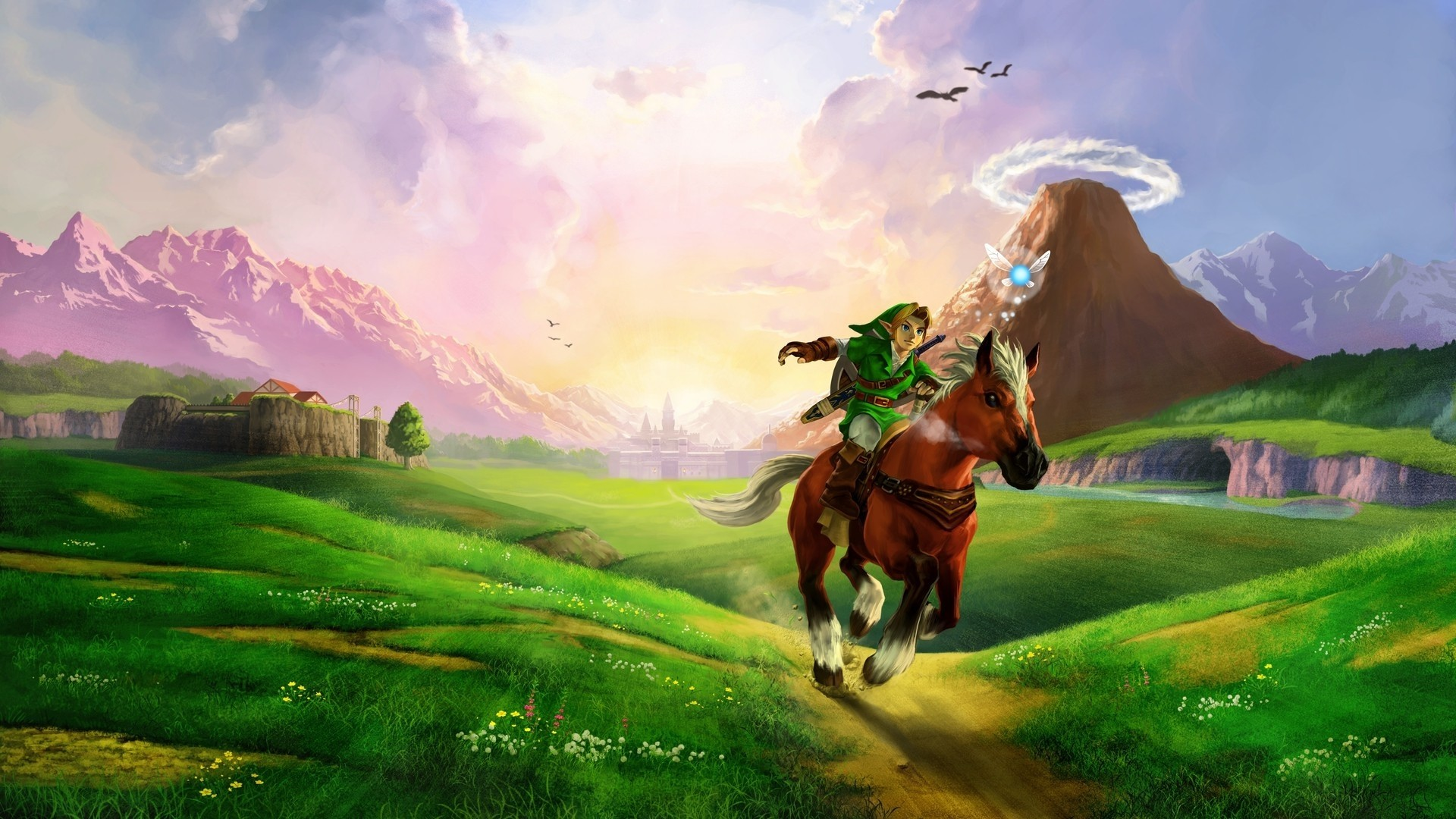 Preview wallpaper the legend of zelda, horse, plain, river, sunlight, zelda