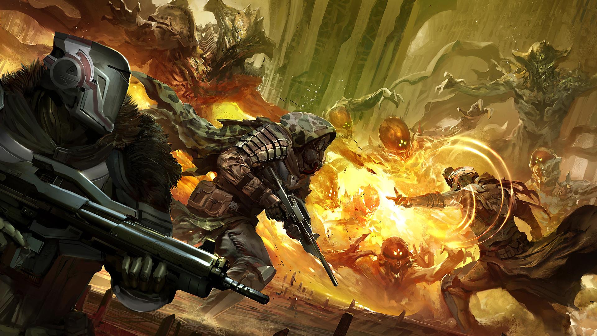 fireteam Titan, Hunter and Warlock vs Aliens Destiny sci fi game .