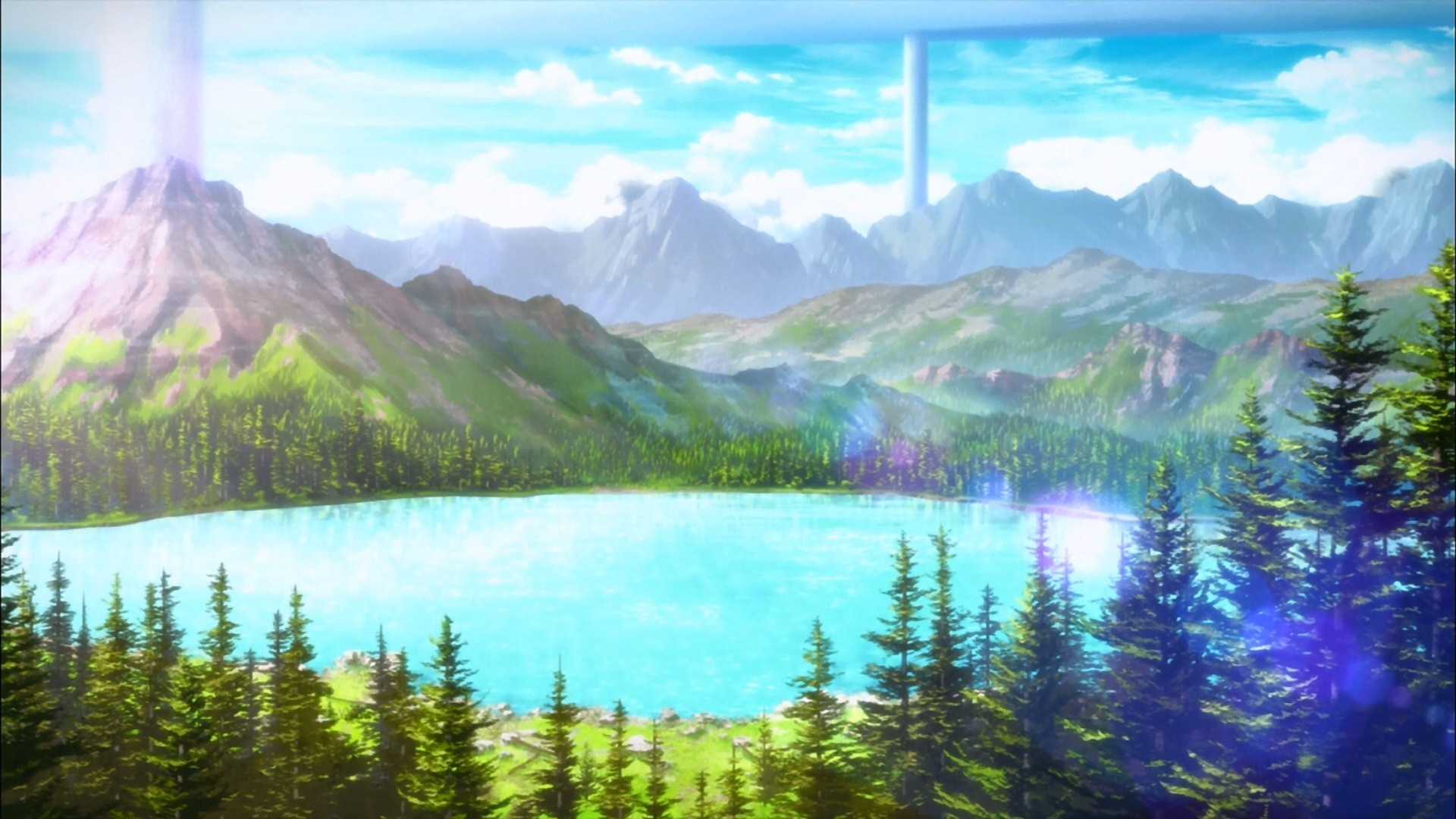 … wallpapers backgrounds; anime landscape sword art online mountains  trees …