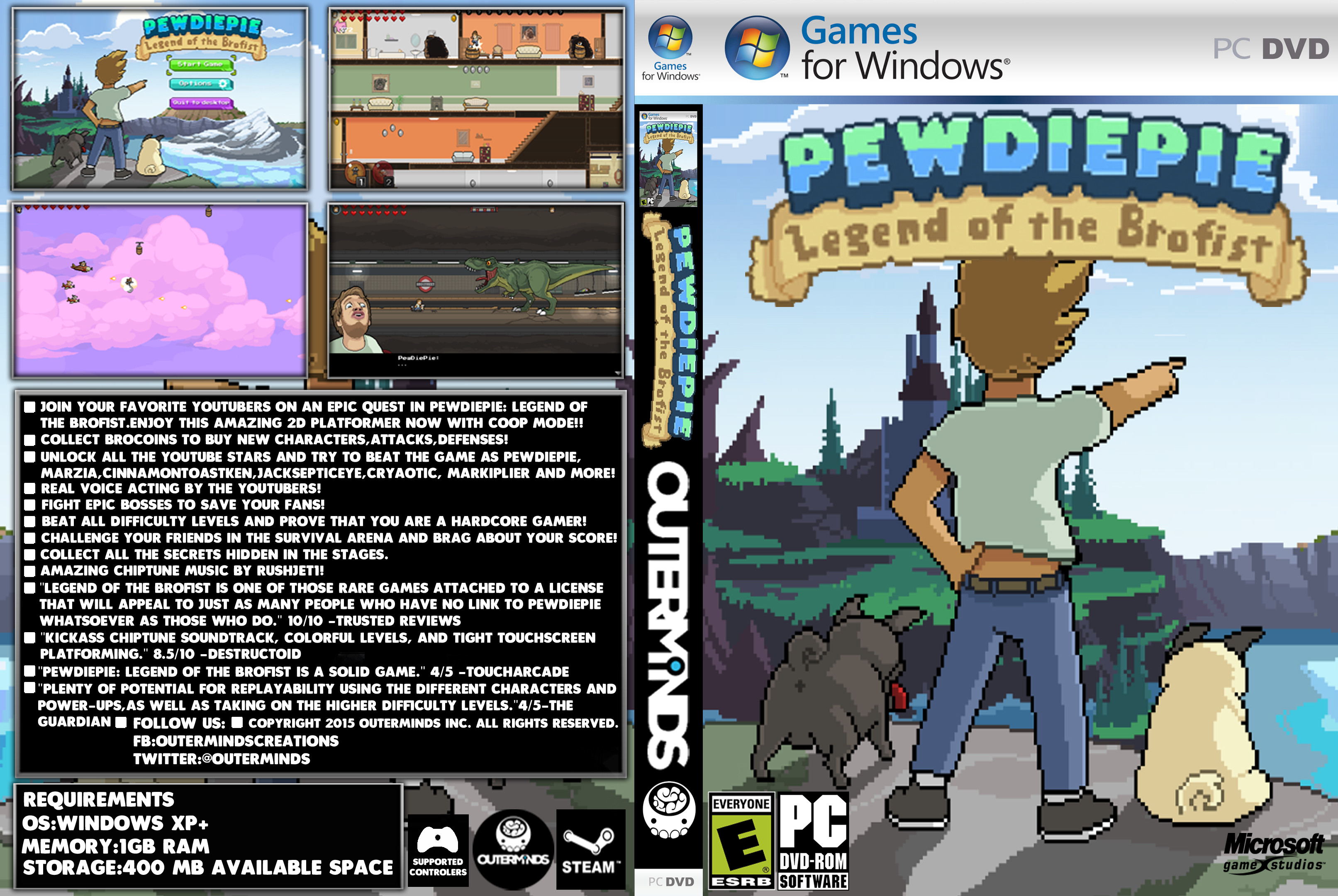 … PewDiePie:Legend Of The Brofist PC Windows Cover by apolopx