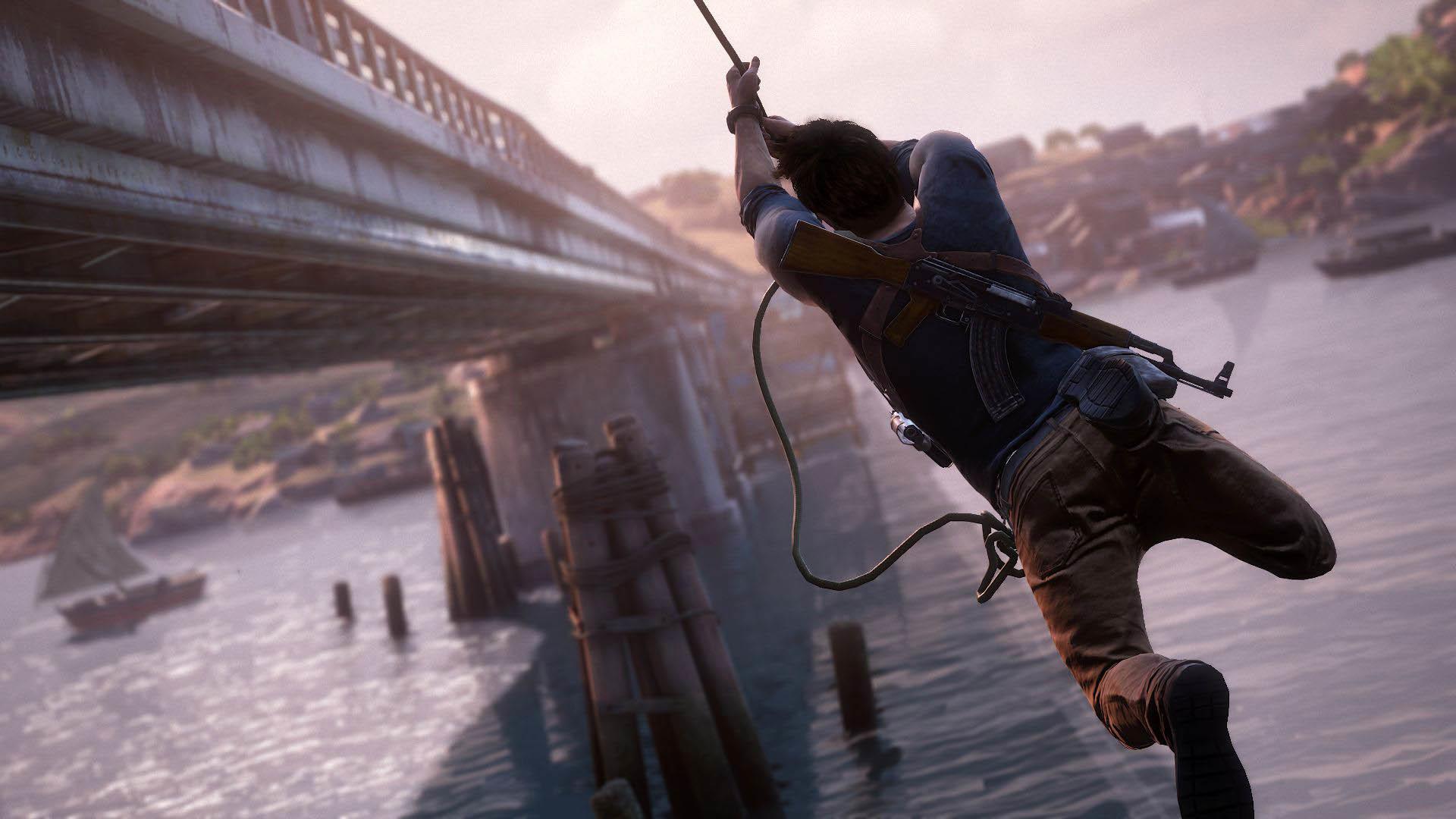 Uncharted 4: A Thief's End – Tarzan Jump next to a Bridge  wallpaper