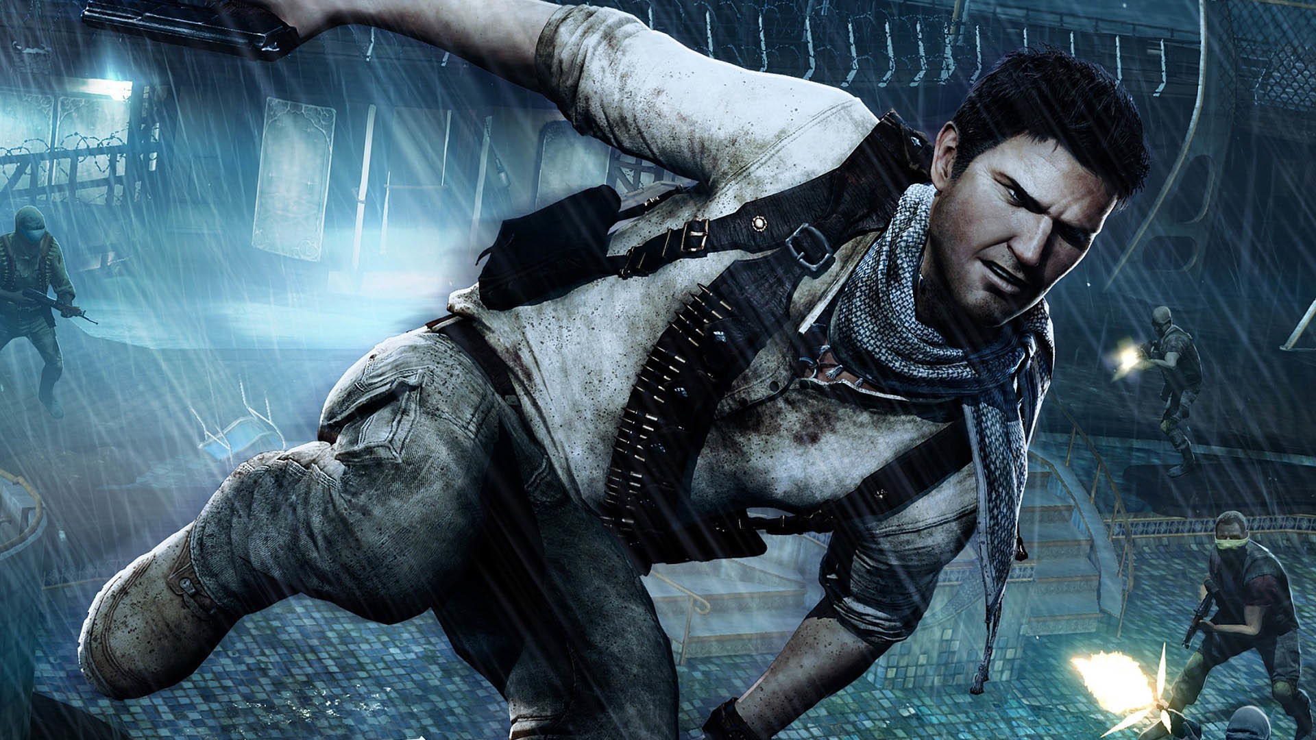 Uncharted 4: A Thief's End – Nathan escaping wallpaper