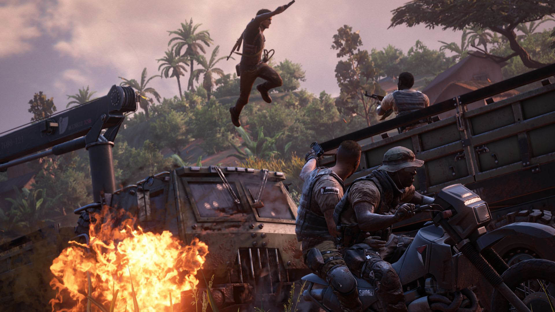 Uncharted 4 Explosive Action Scene on the Road wallpaper