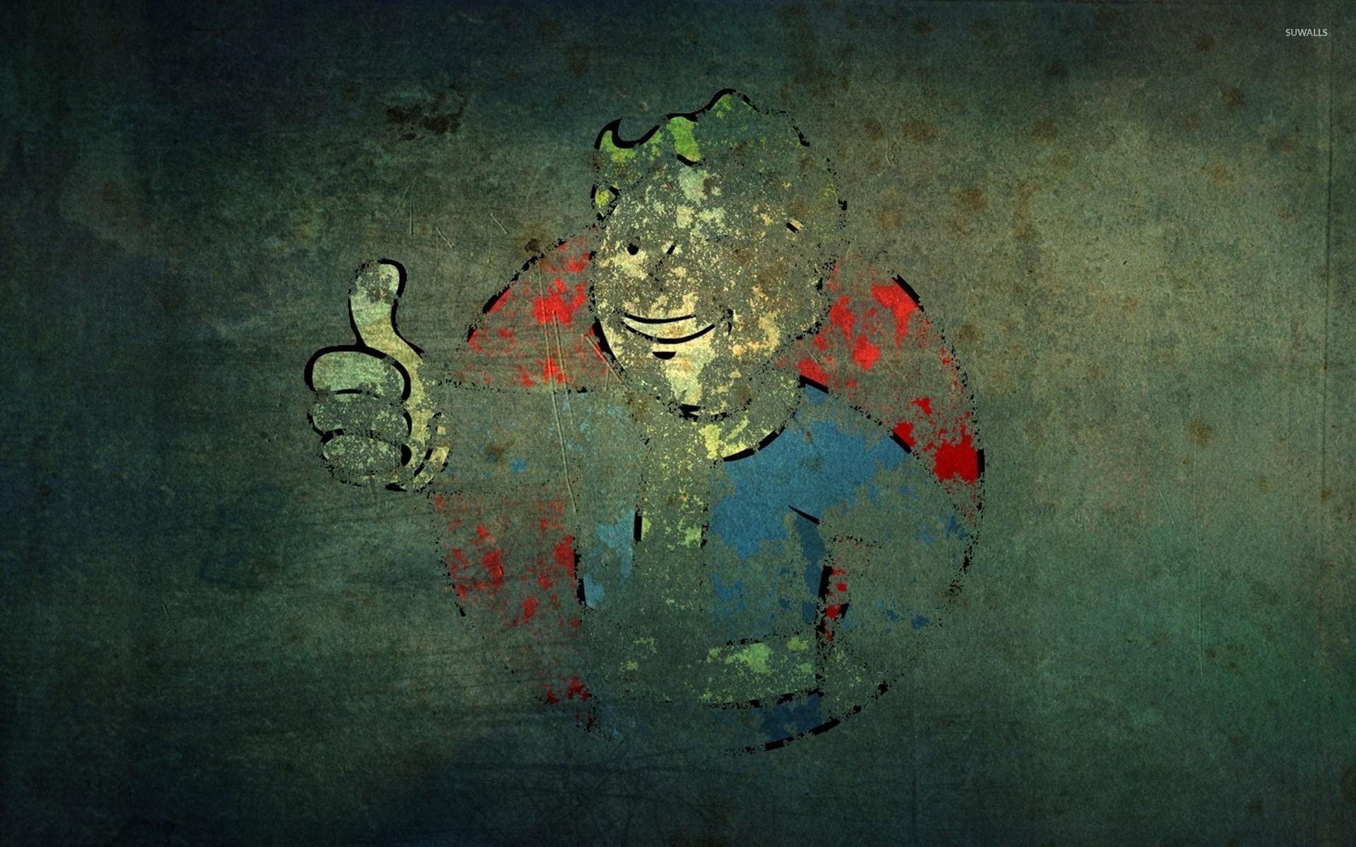 Vault Boy graffiti on an old wall – Fallout wallpaper