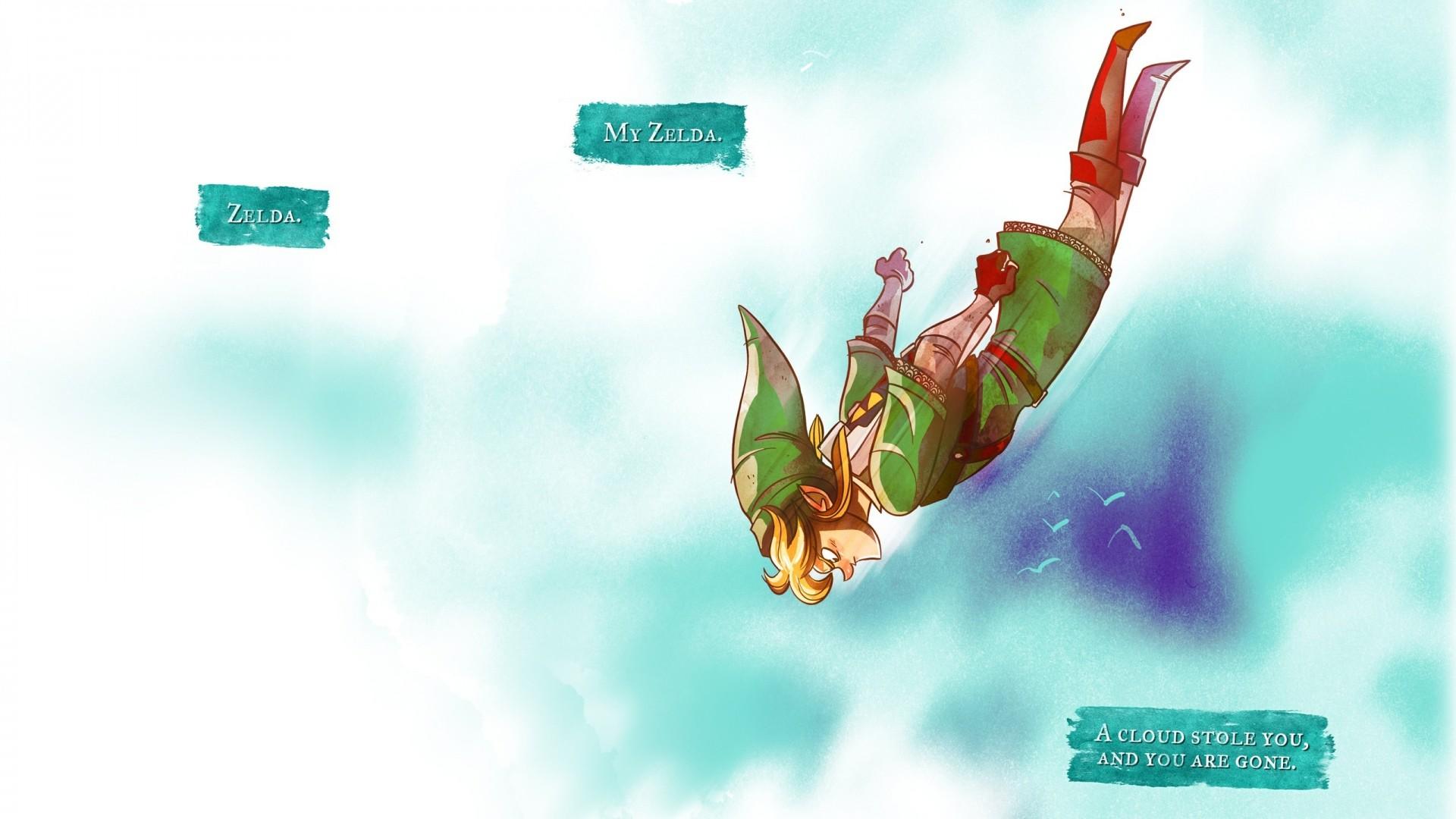Wallpaper the legend of zelda, jump, elf, fly, link