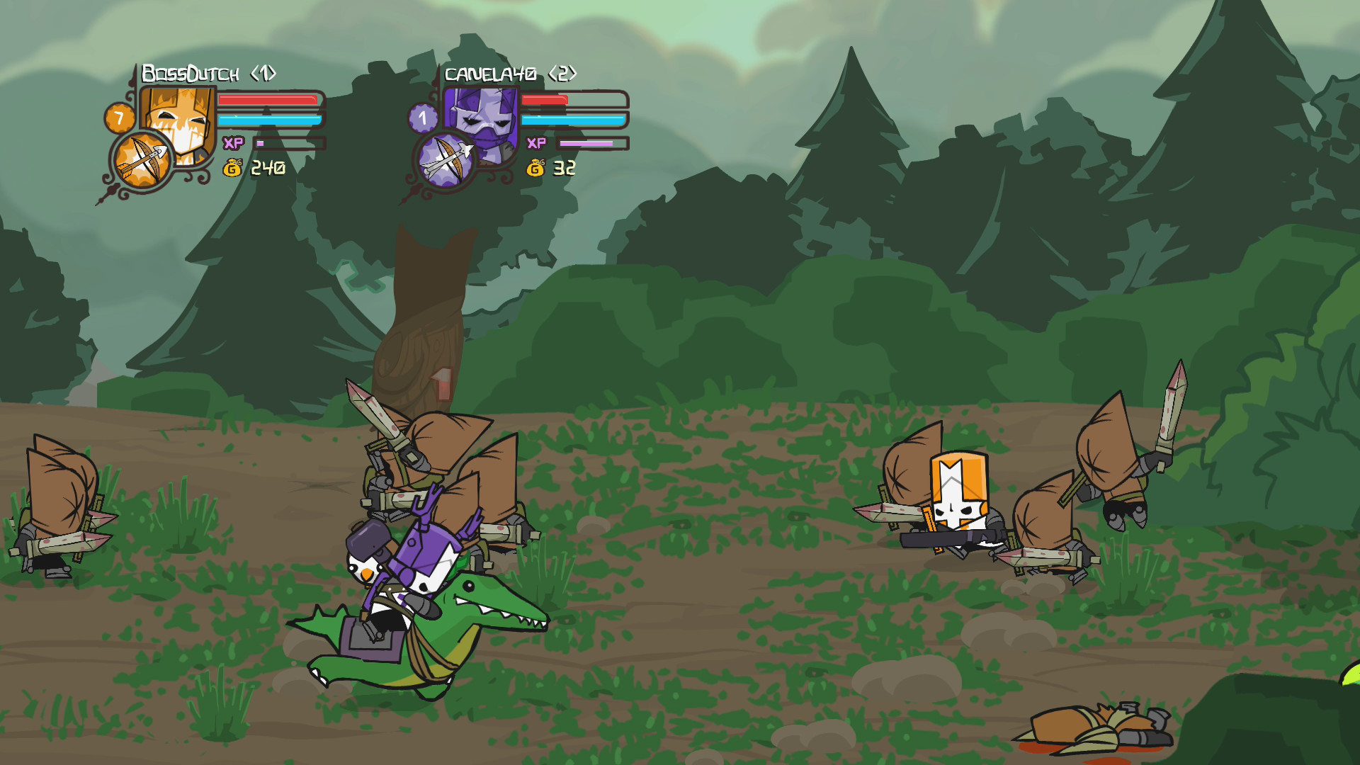 The original 'Castle Crashers' is very cartoonish, with bright colors and  sharp edges that give it a glossy, colored pencil kind of look.