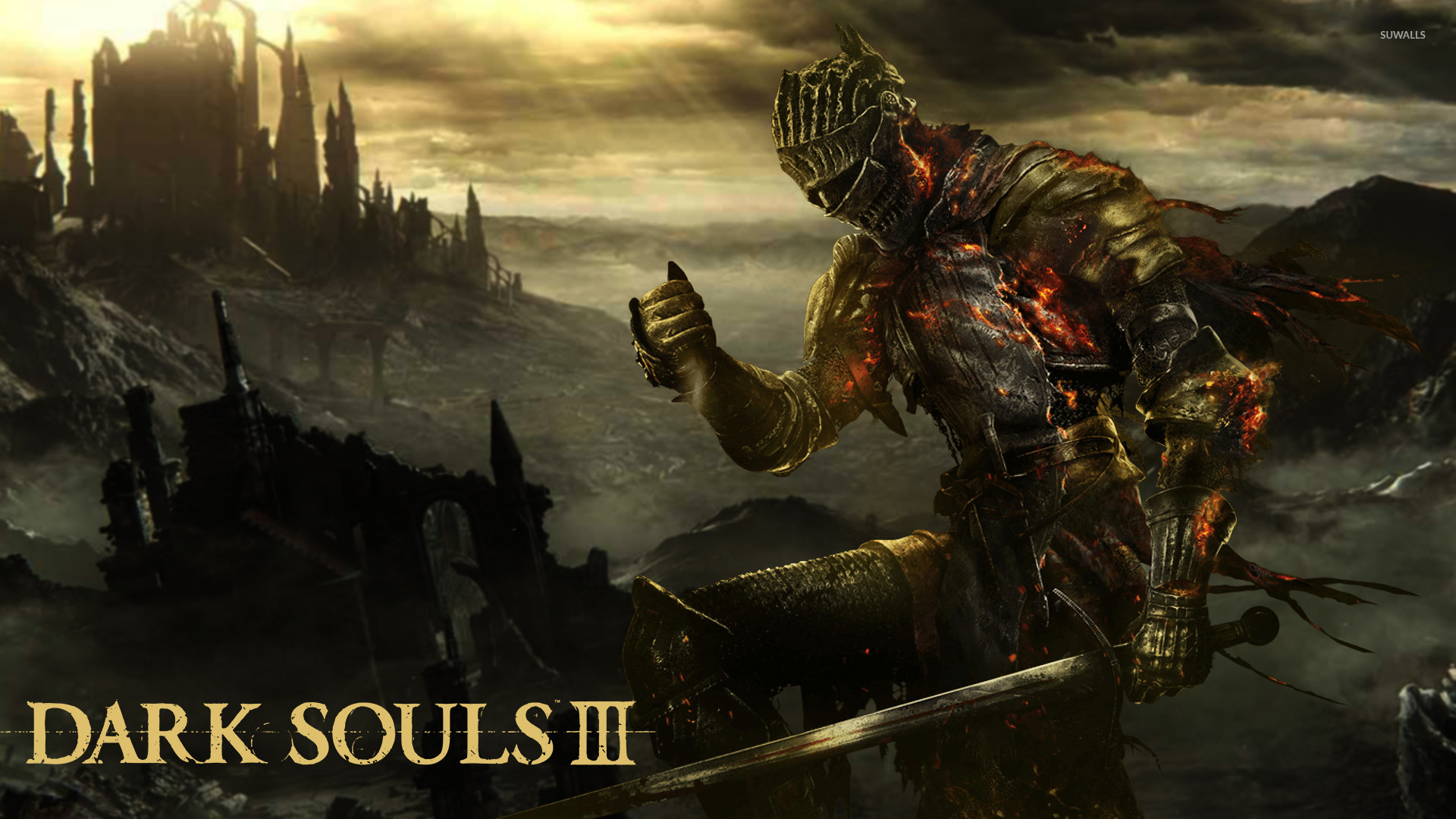 Flaming knight in Dark Souls III wallpaper jpg