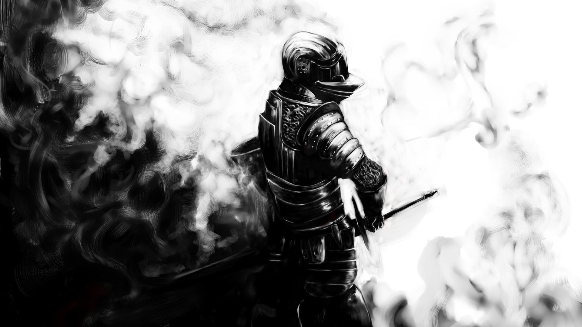 Preview wallpaper dark souls, knight, sword, armor, helmet 1920×1080