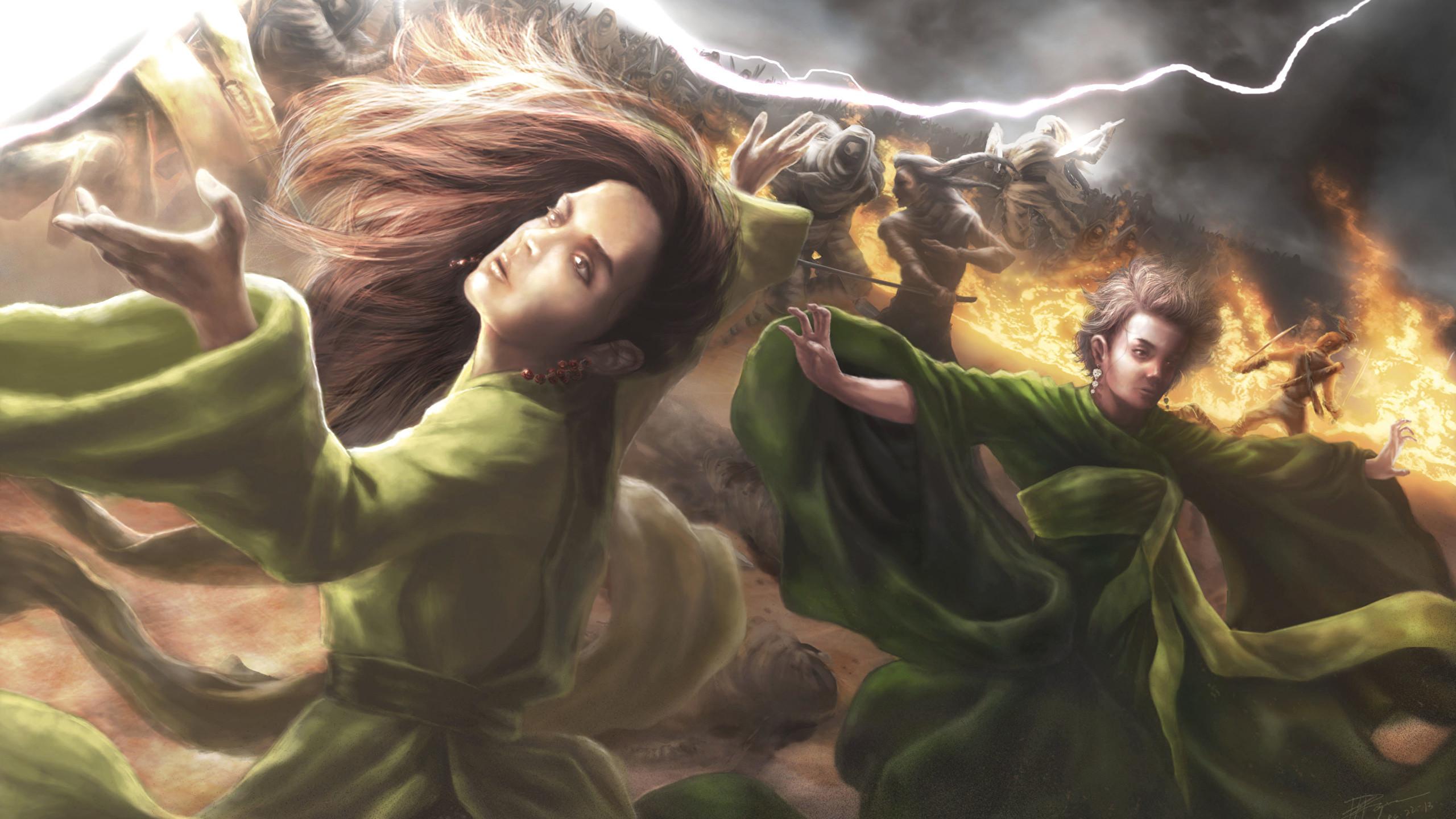 Wallpaper Illustrations to books The Wheel of Time Girls Fantasy 2560×1440