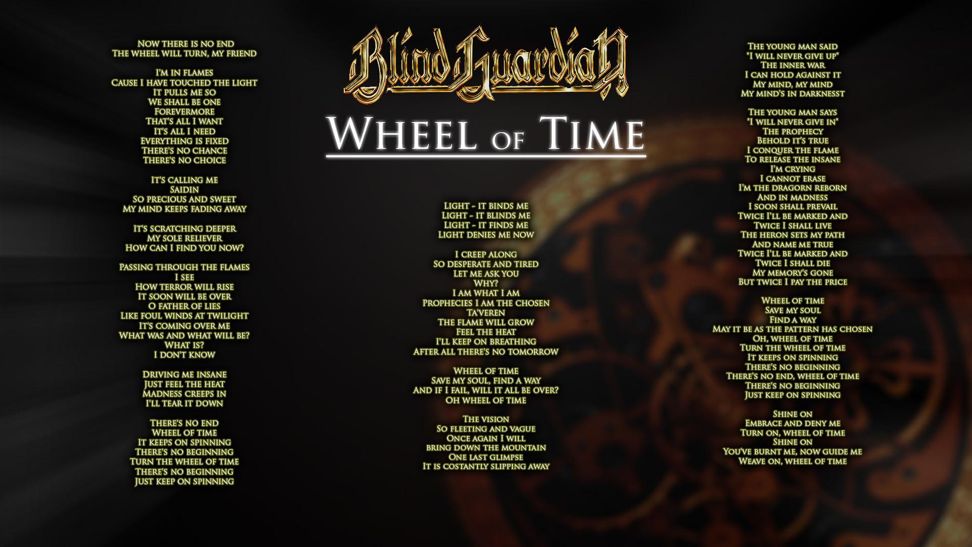 """Blind Guardian – """"Wheel of Time"""" Lyrics [1920×1080] …"""