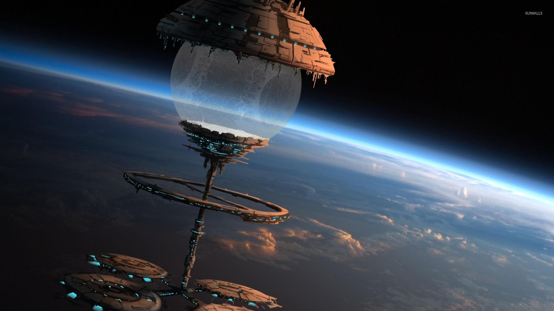 Space station orbiting a planet wallpaper jpg