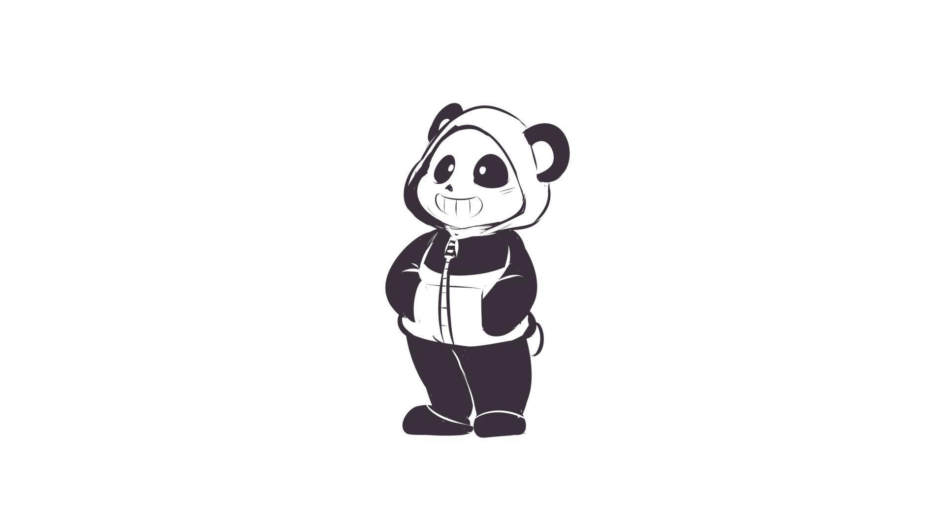 Undertale Panda Sans wallpaper, happy panda wallpaper, hoodie, sketch .