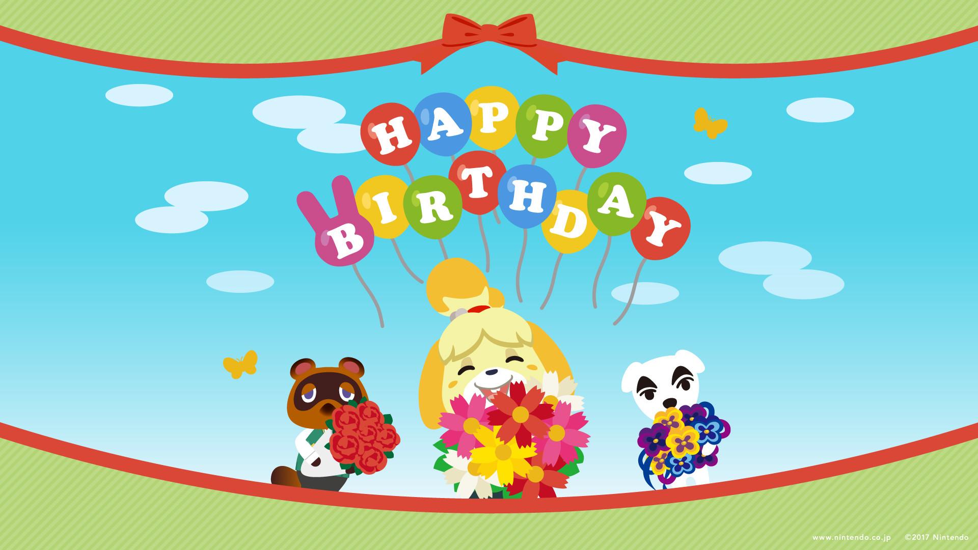 "Nintendo releases Animal Crossing ""Happy Birthday"" wallpapers"