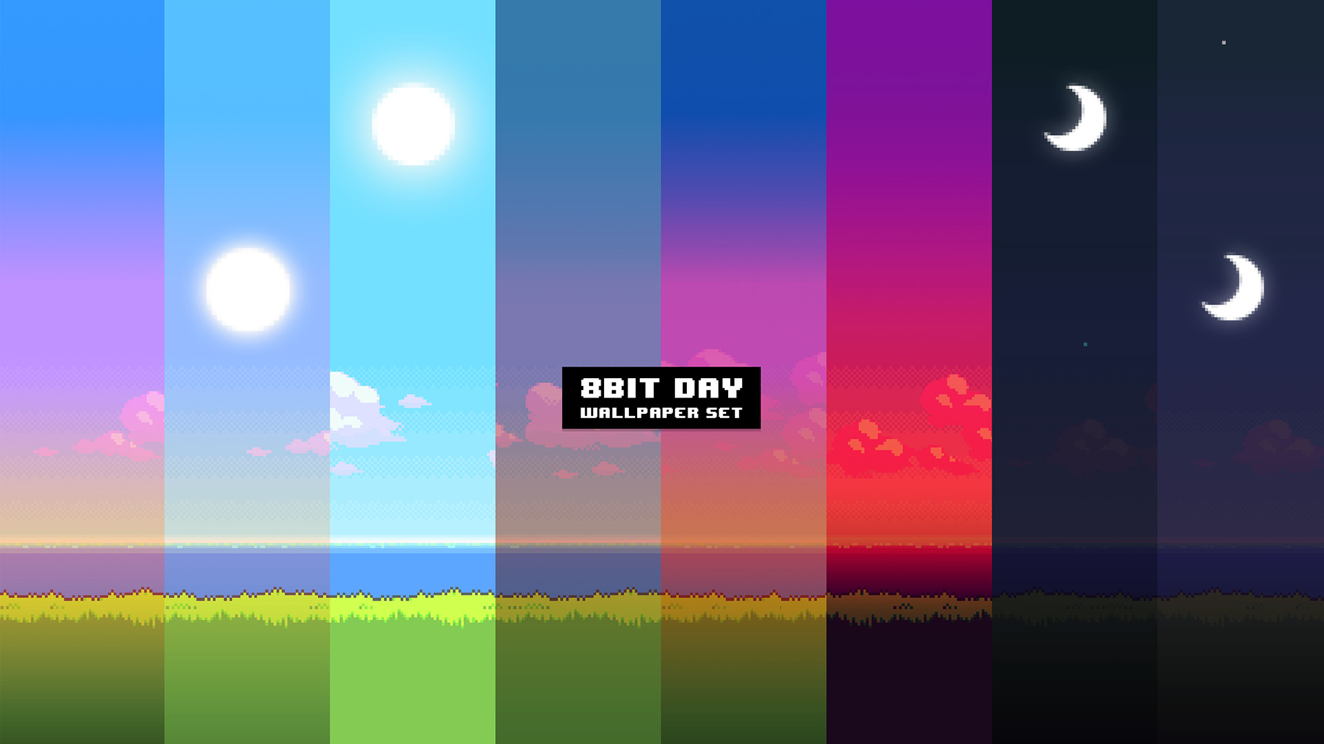 UPDATE: New version of the '8Bit Day' Wallpaper Set. Pixel wallpaper  changes based on time of day! [Download different resolutions and  installation …