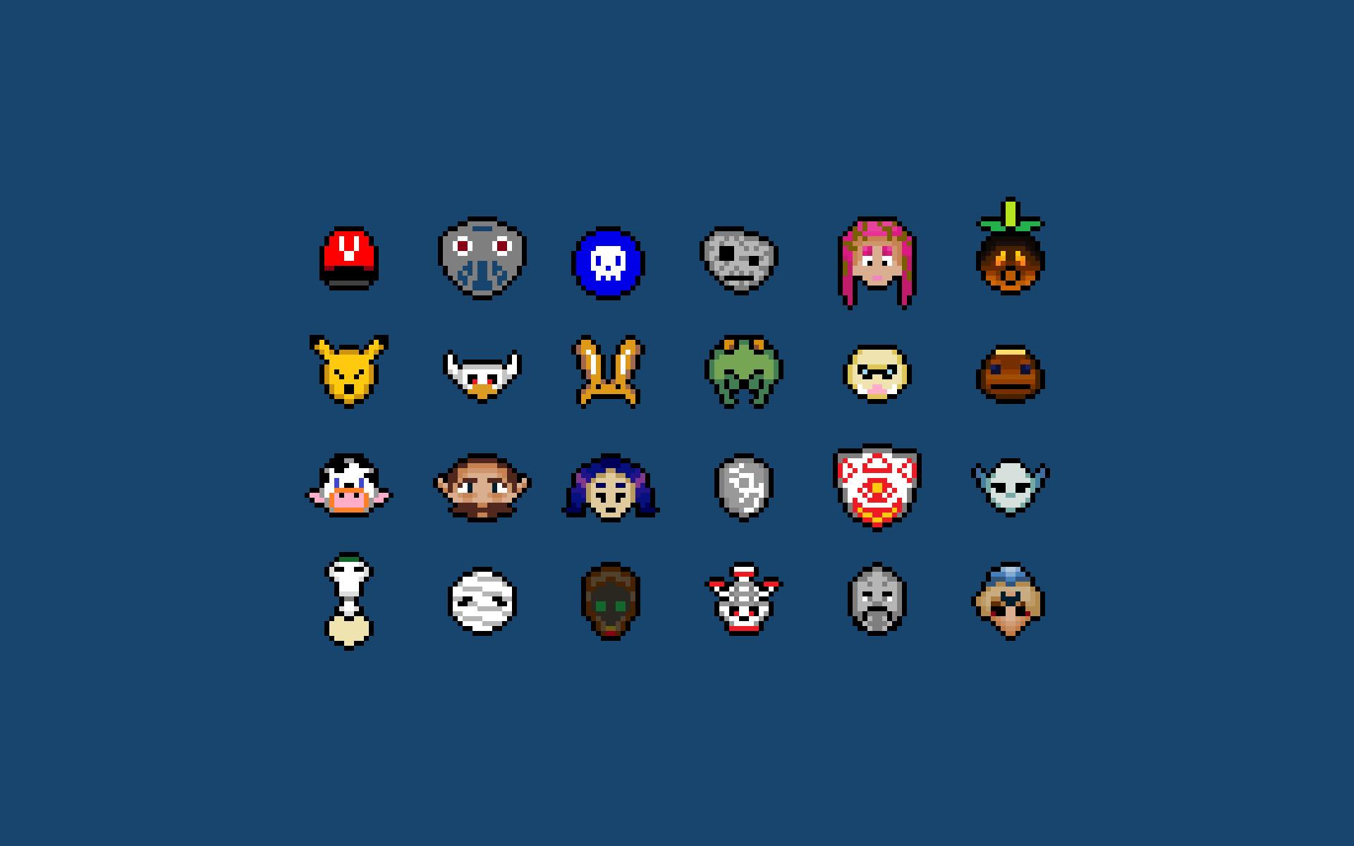 Legend of Zelda 8 bit wallpaper I made of all the masks from Majora's Mask  …