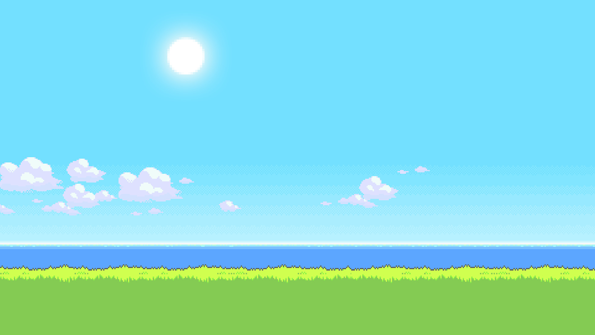 UPDATE: New version of the '8Bit Day' Wallpaper Set. Pixel wallpaper  changes based on time of day!