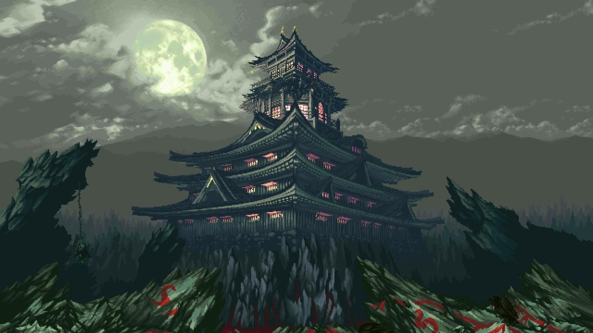 temple rock light moon clouds mountain 8-bit