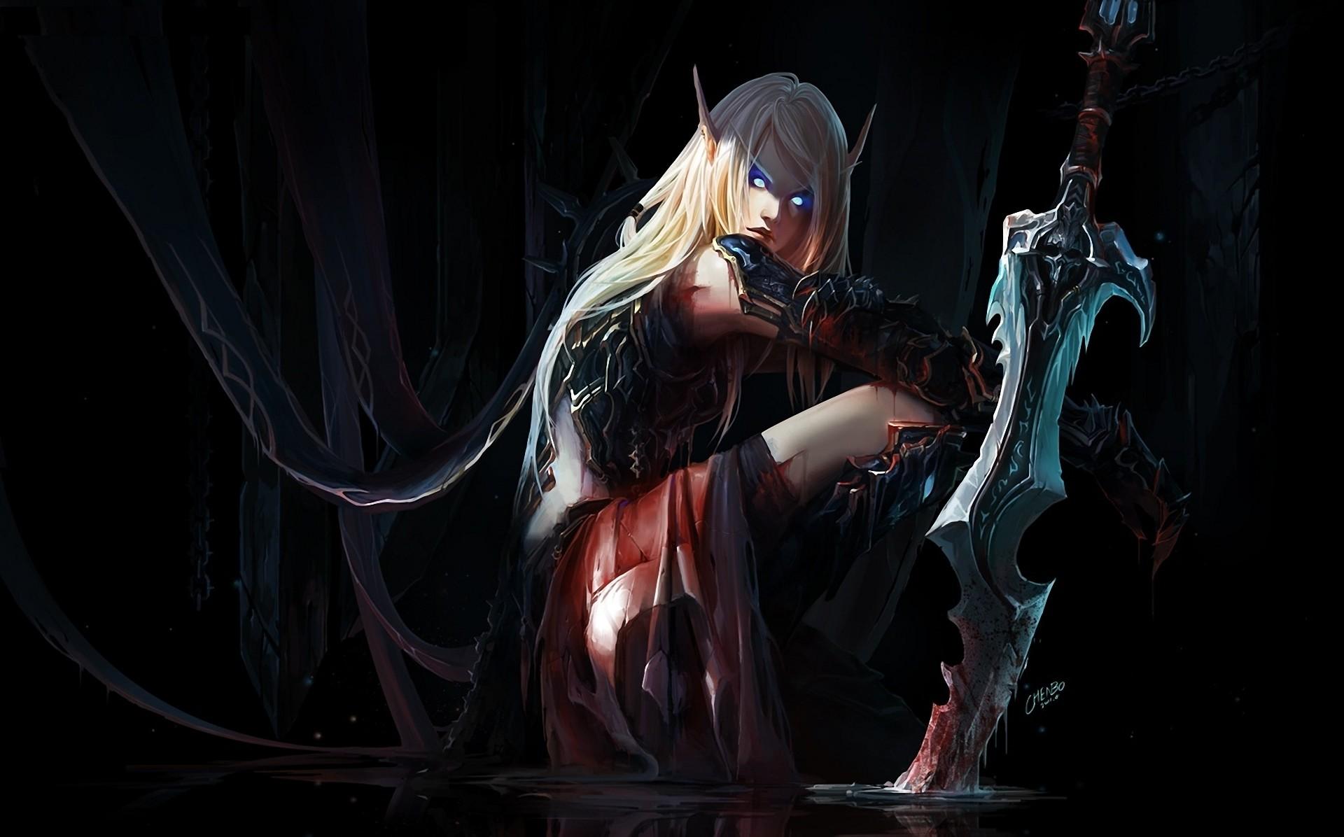 Elf Warrior, Blood Elf Death Knight, World of Warcraft wallpaper .