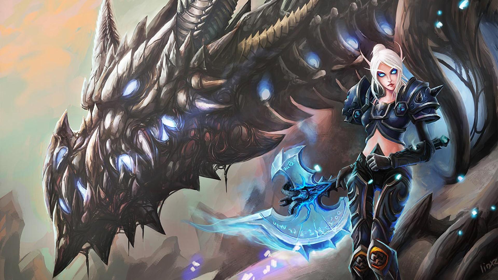 Anime World of Warcraft dragon Blood Elf death knights Sindragosa
