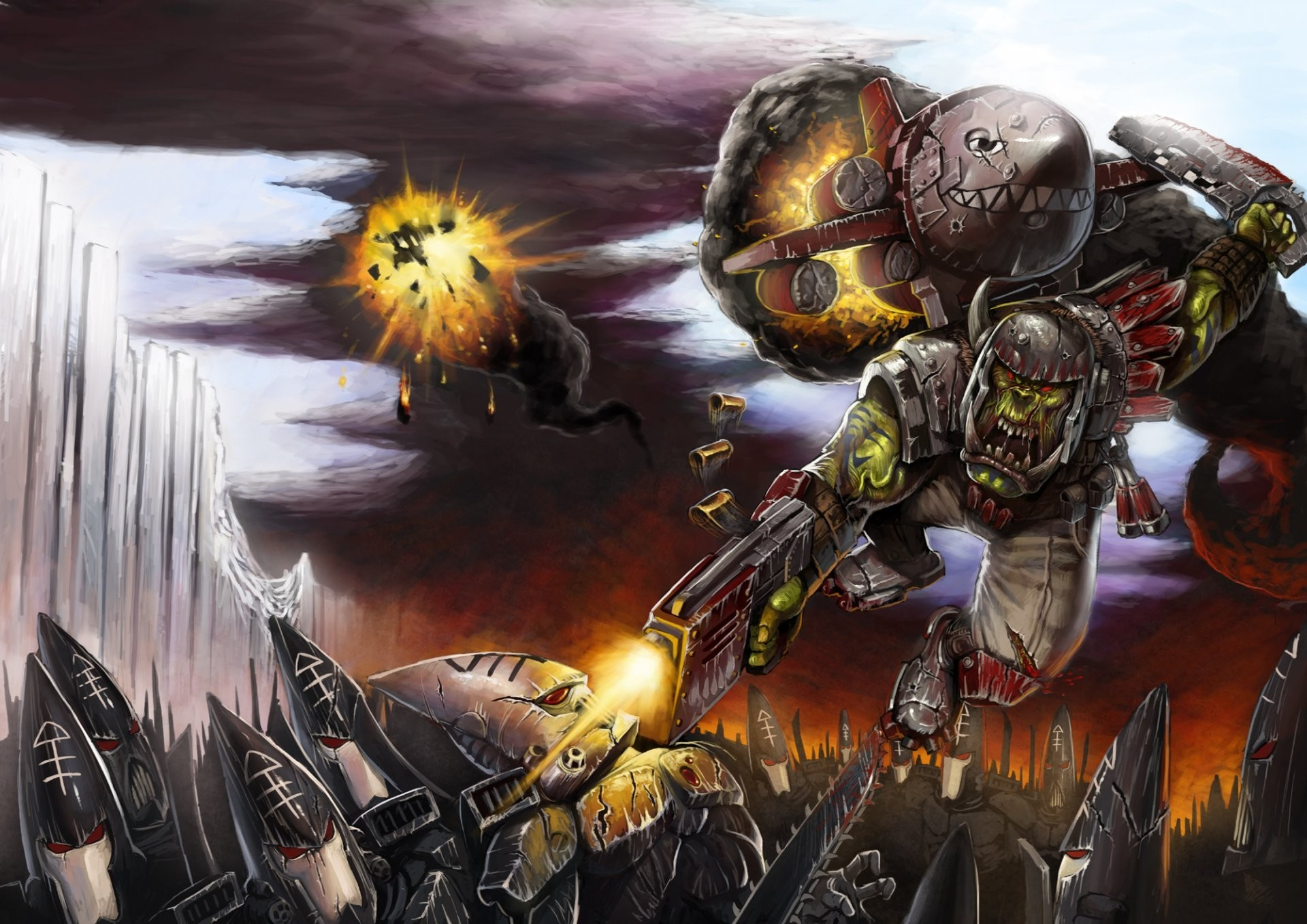 warhammer 40k eldar men ork stormtroopers rocket satchel the helmet . sword  bolter smoke fire