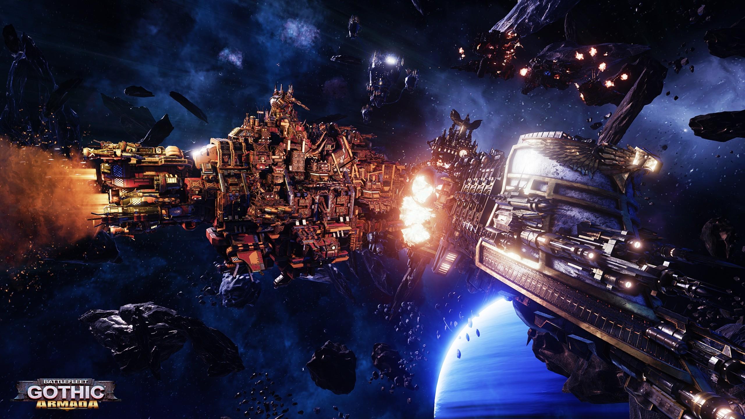Preview wallpaper battlefleet gothic, armada, warhammer 40k, black legion  2560×1440