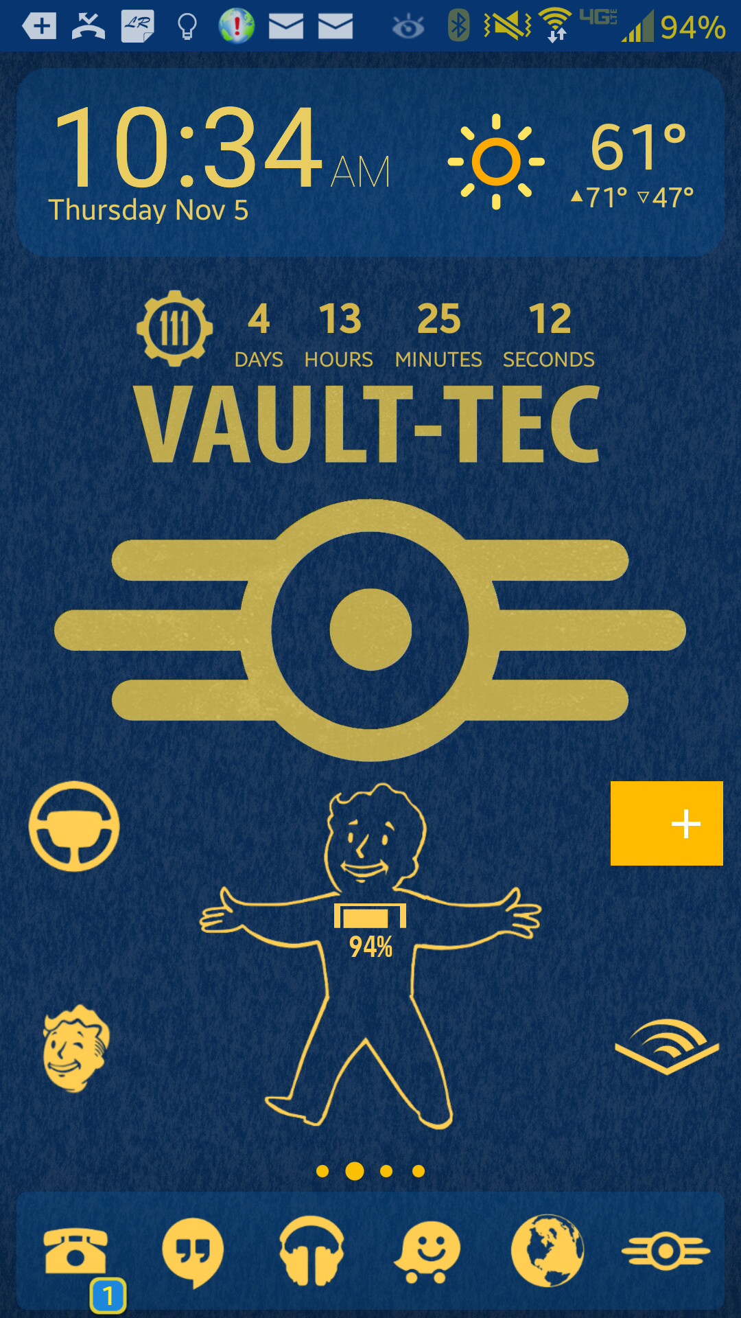 Themed my phone while waiting for Fallout 4. Found the Vault-Tec logo and I  slapped a simple wallpaper together for my Note 3 For the  curious: …