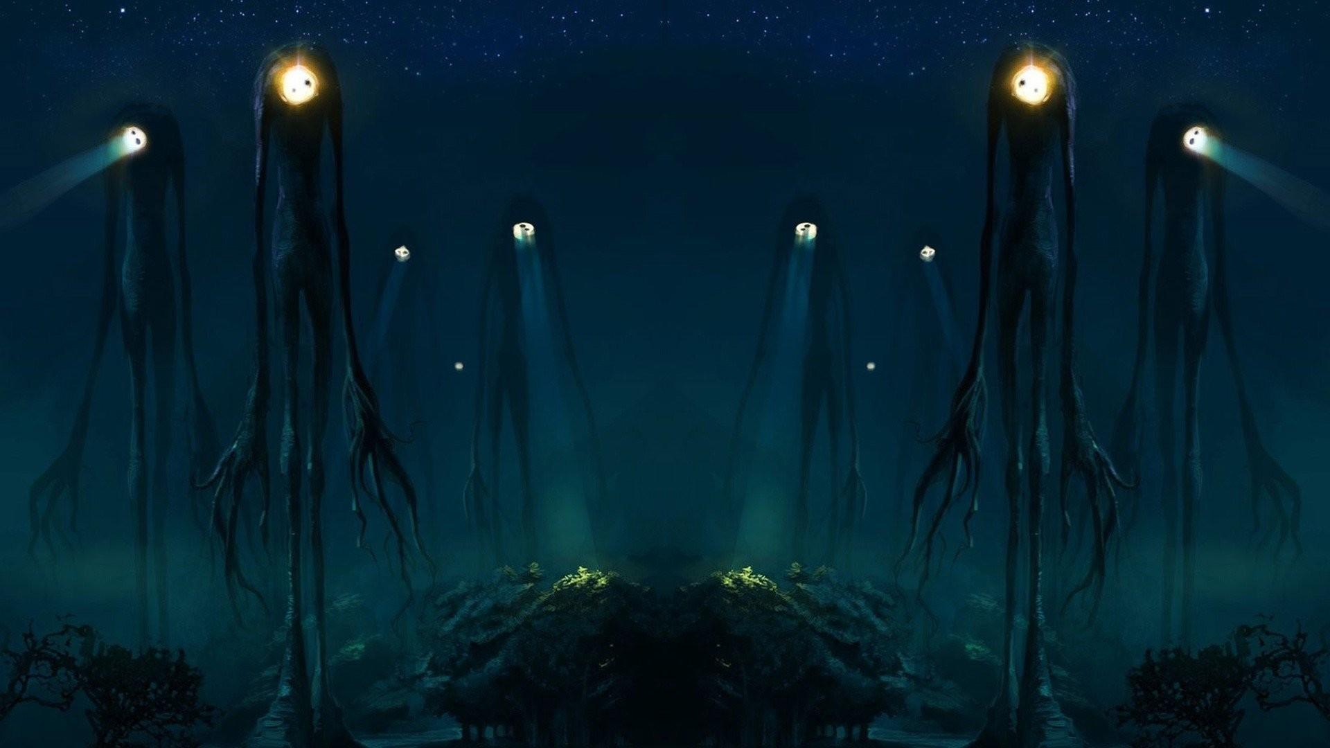 Aliens Creatures Slender Man Spotlight Trees