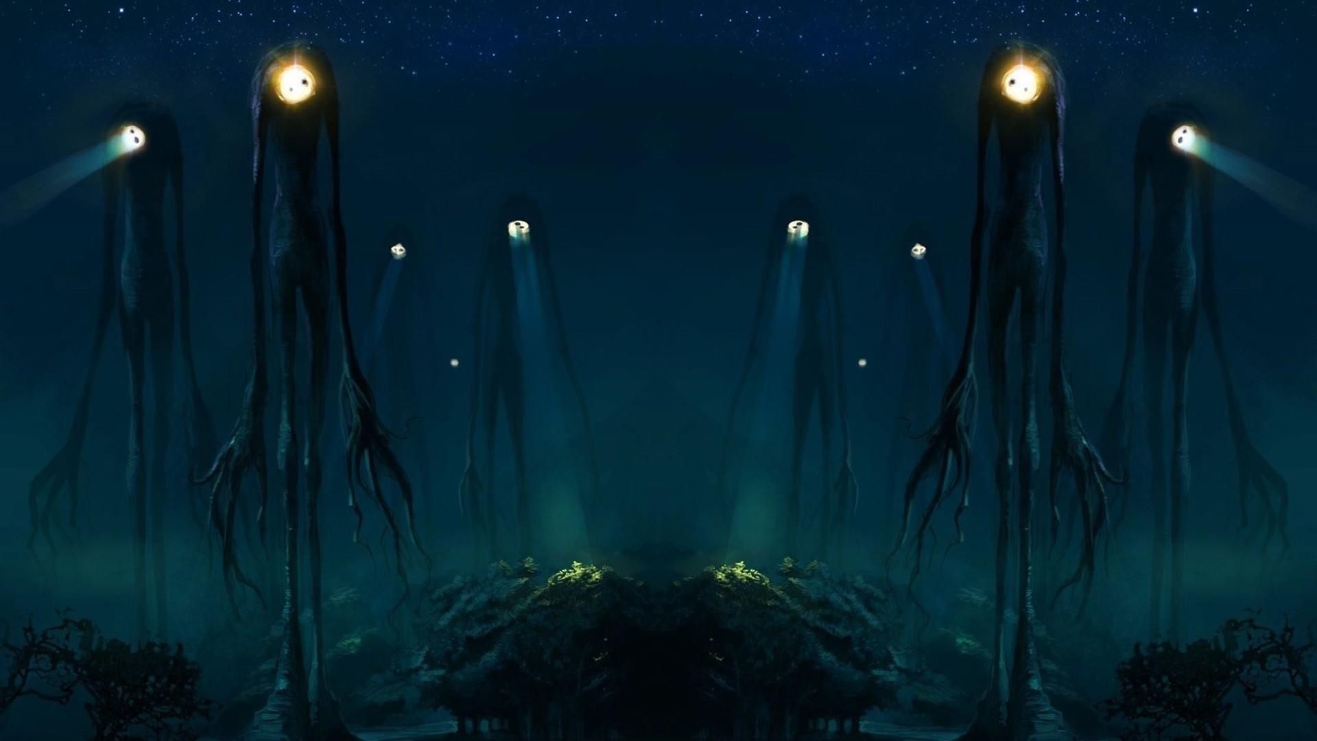 trees creatures spotlight slender man aliens ambient wallpaper  Art HD Wallpaper